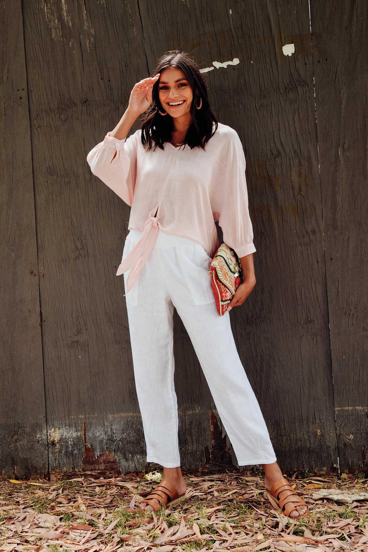 Shelby Pink Front Tie Top
