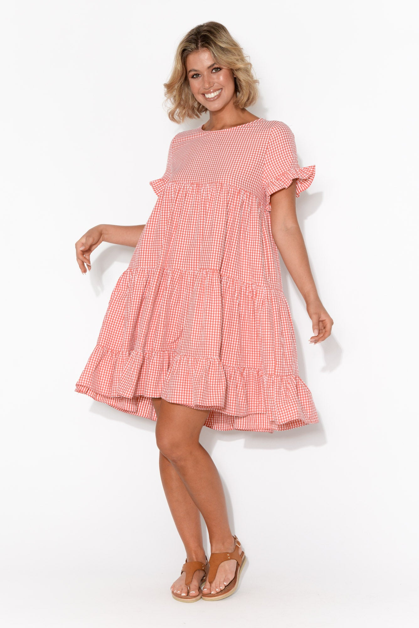 Sia Red Gingham Tiered Dress
