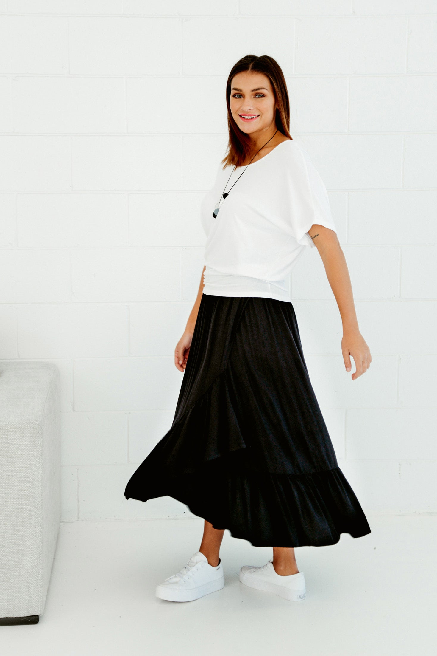 Sienna Black Ruffle Skirt - Blue Bungalow