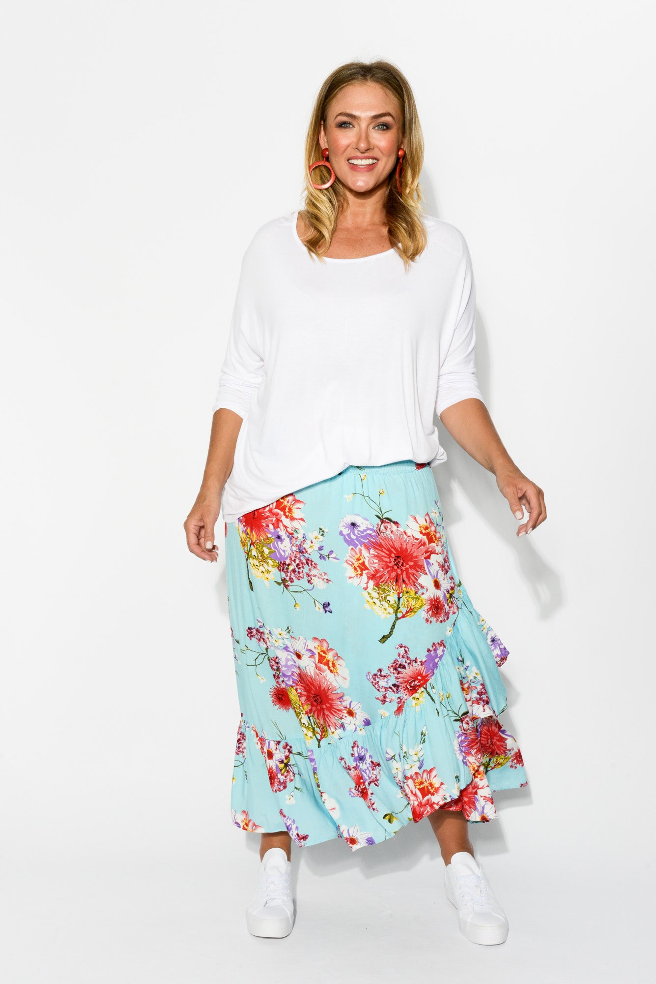 Sienna Cherry Blossom Ruffle Skirt - Blue Bungalow
