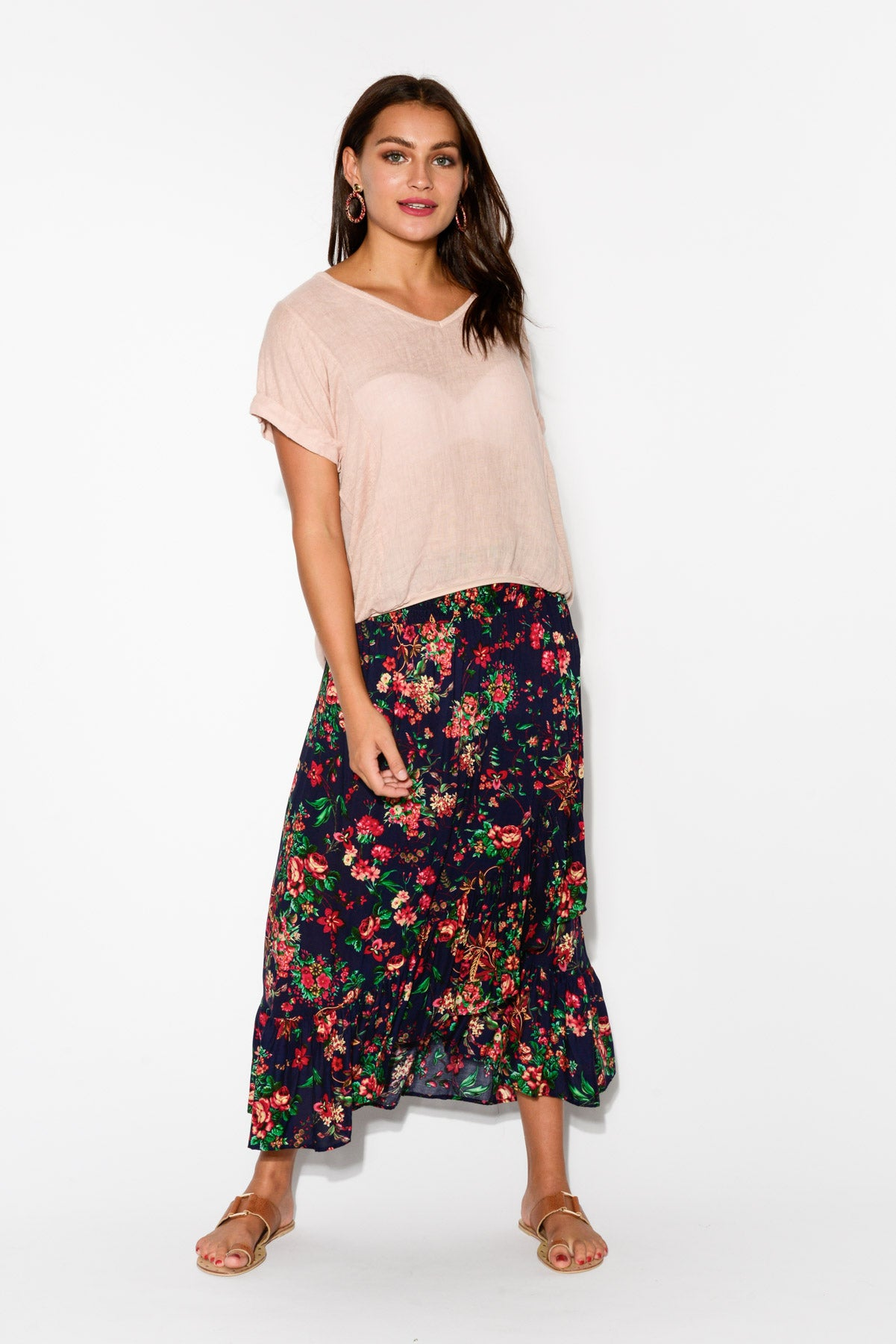 Sienna Navy Floral Ruffle Skirt - Blue Bungalow