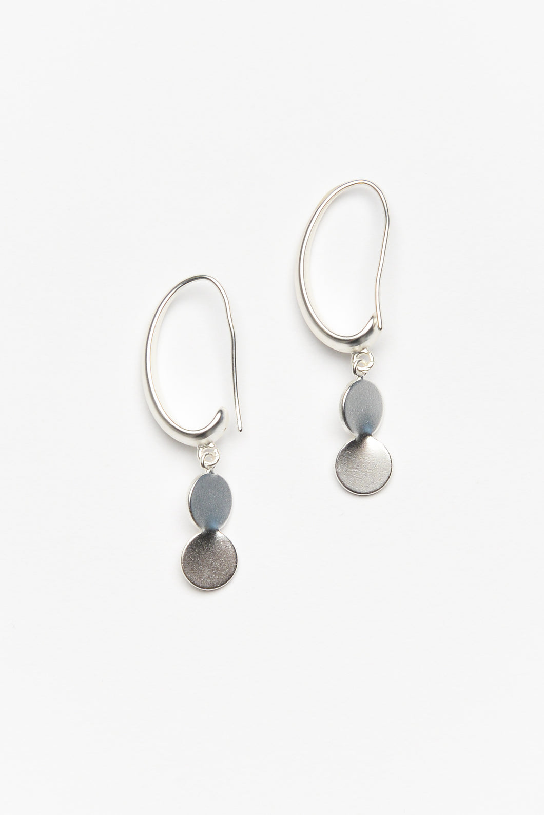 Silver Double Dot Hook Earring