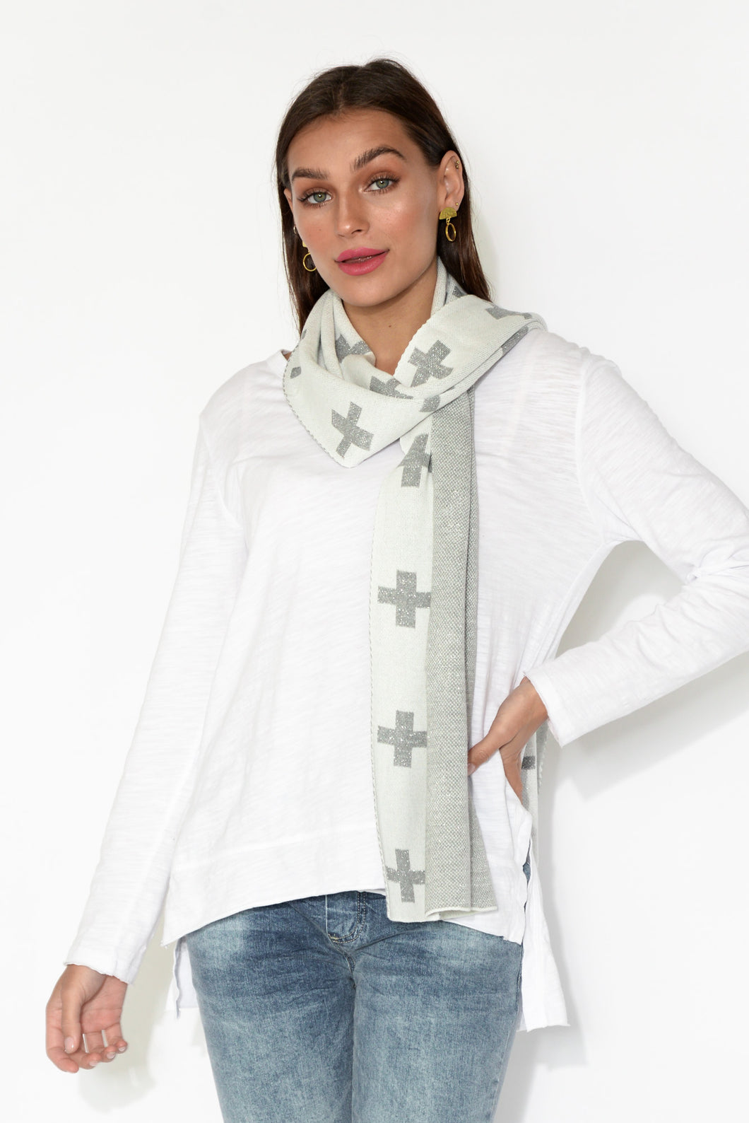 Silver Lurex Cross Scarf