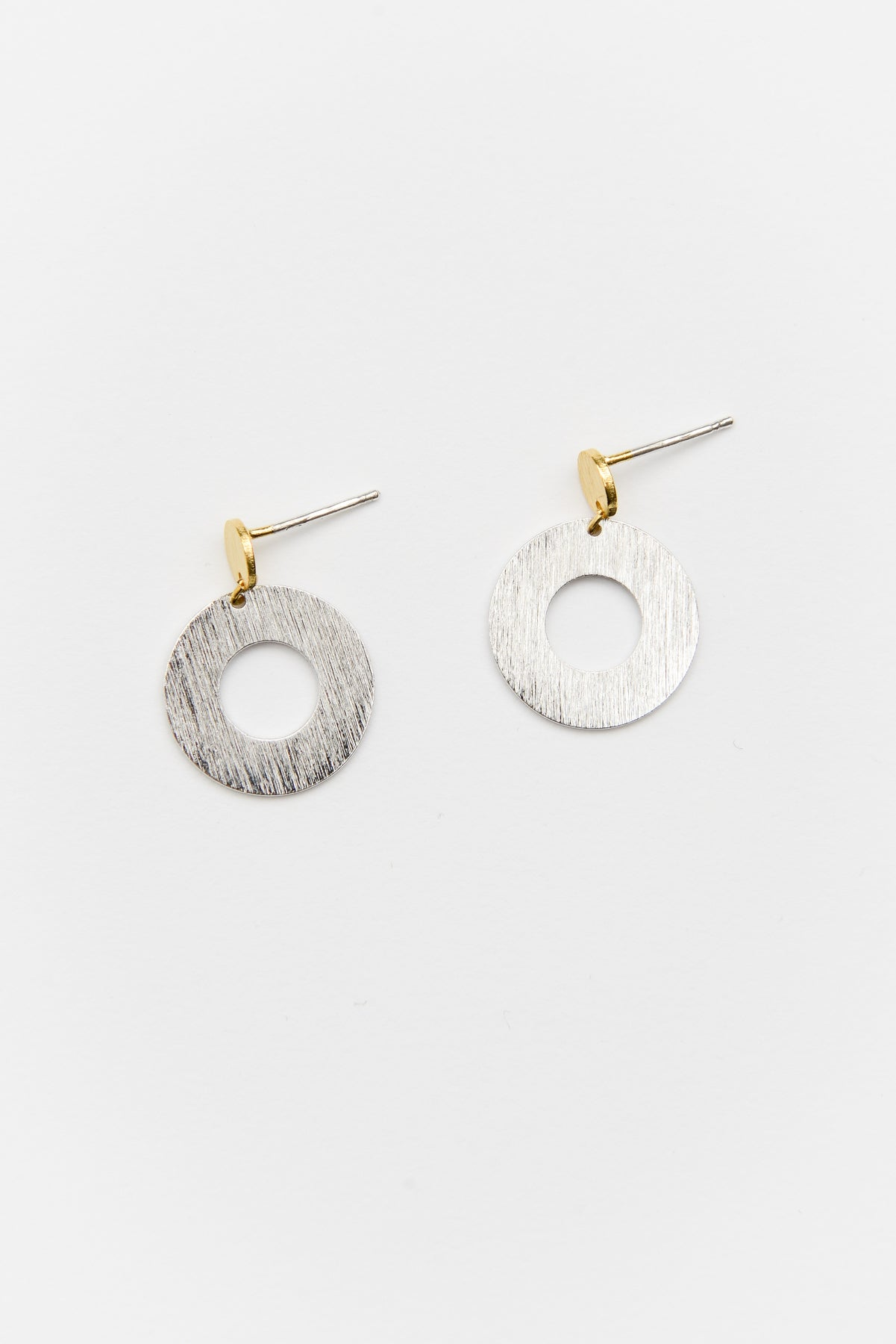 Silver Dot and Donut Earring