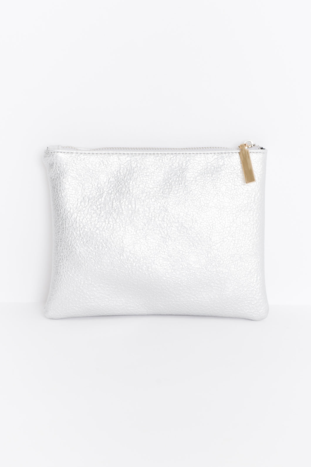 Silver Textured Metallic Pouch
