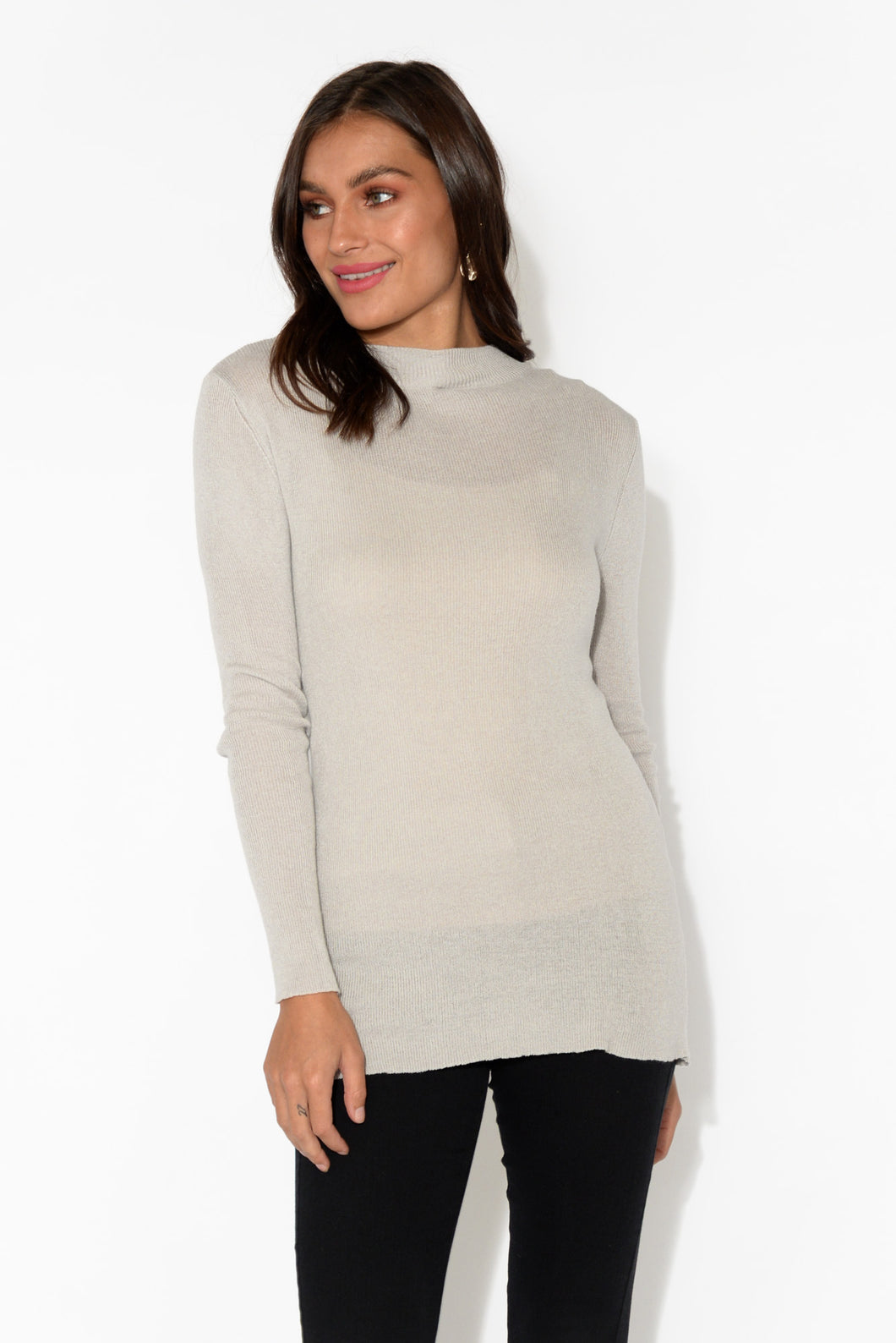 Skyline Taupe Knit Sleeved Top