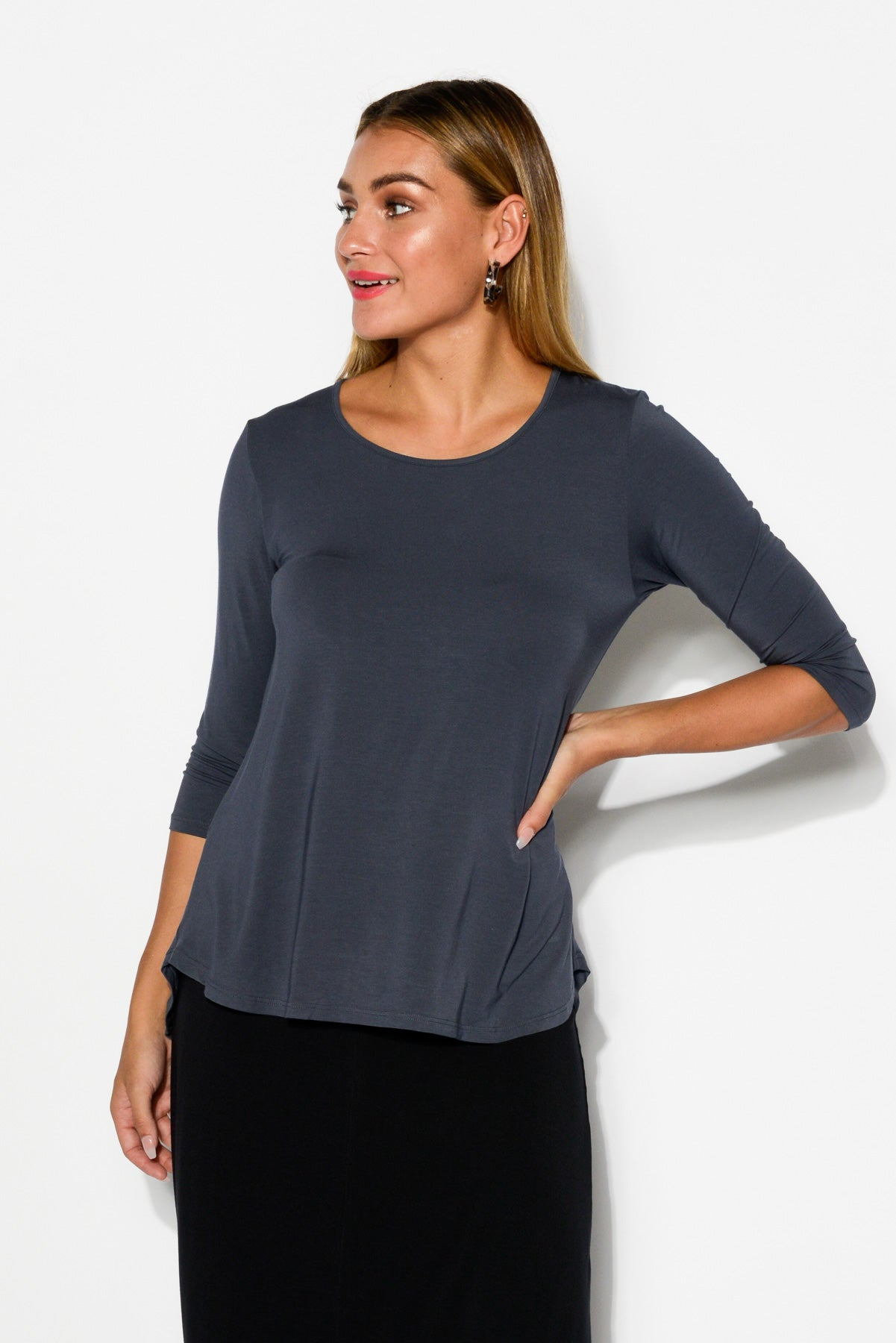 Slate Modal 3/4 Sleeve Hi Lo Top - Blue Bungalow