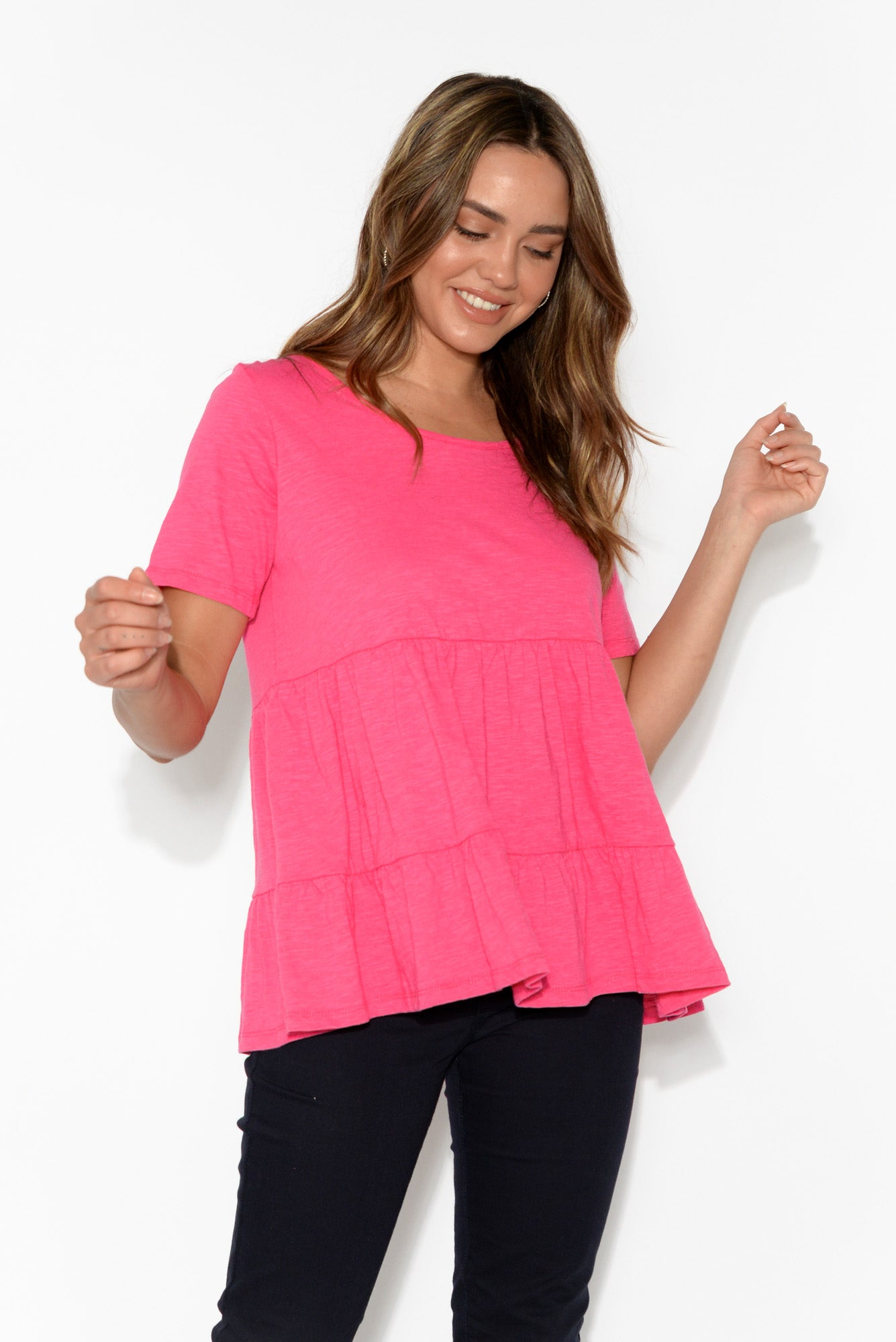 Sofia Hot Pink Cotton Ruffle Top