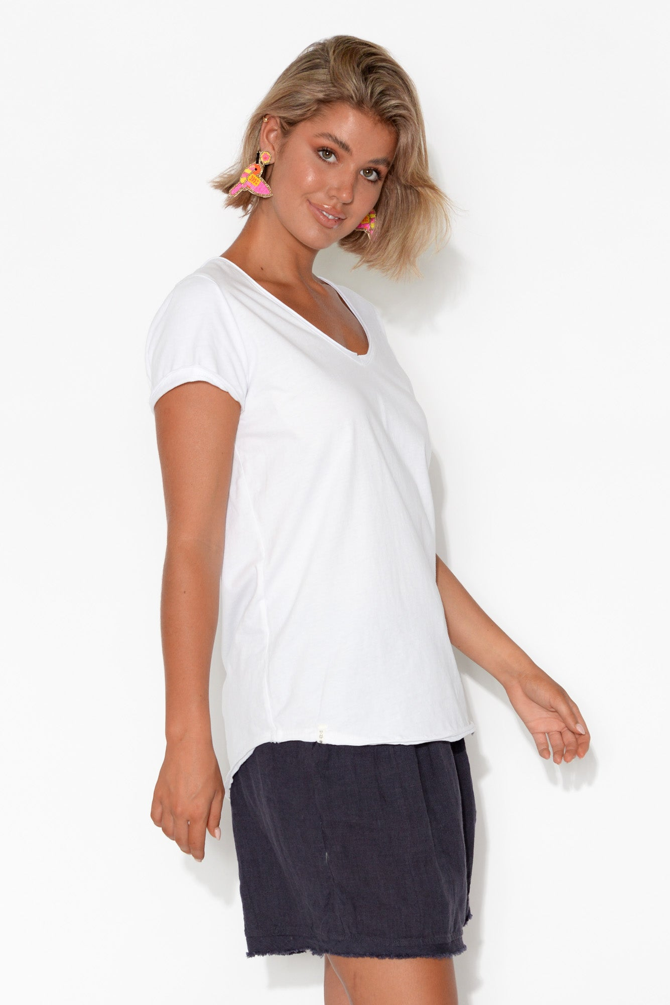Sophia White Cotton Tee