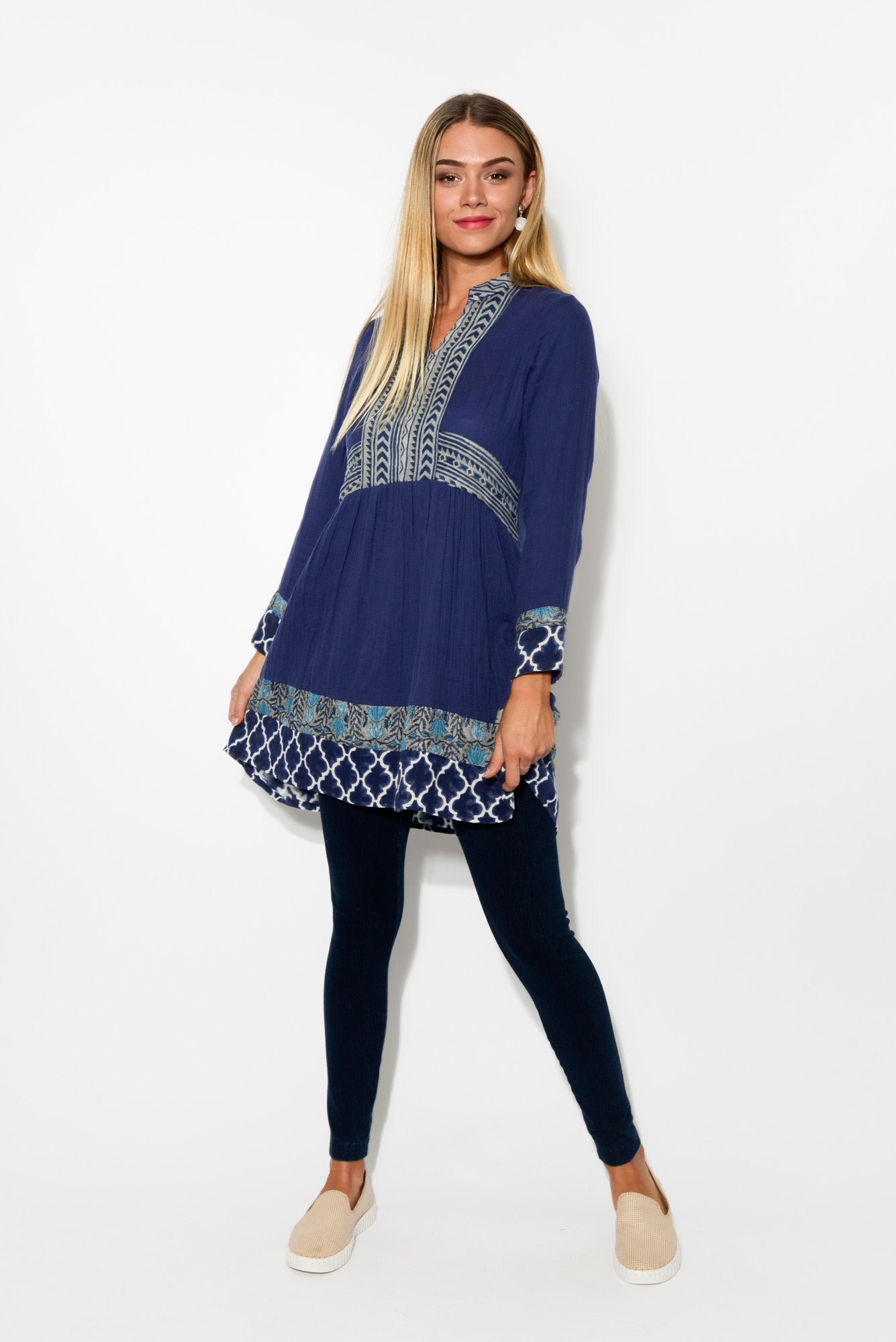 Sorronto Blue Sleeved Cotton Tunic - Blue Bungalow