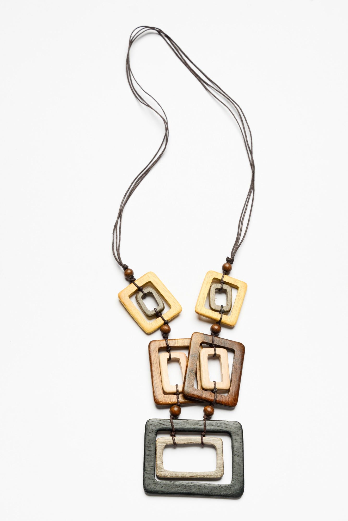 Square Wooden Disc Necklace