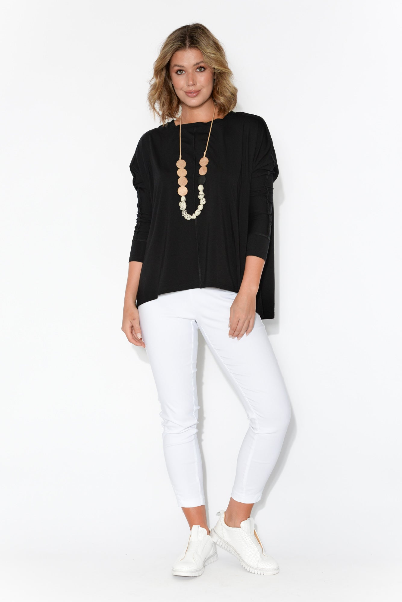 Stella Black Bamboo Long Sleeve Top