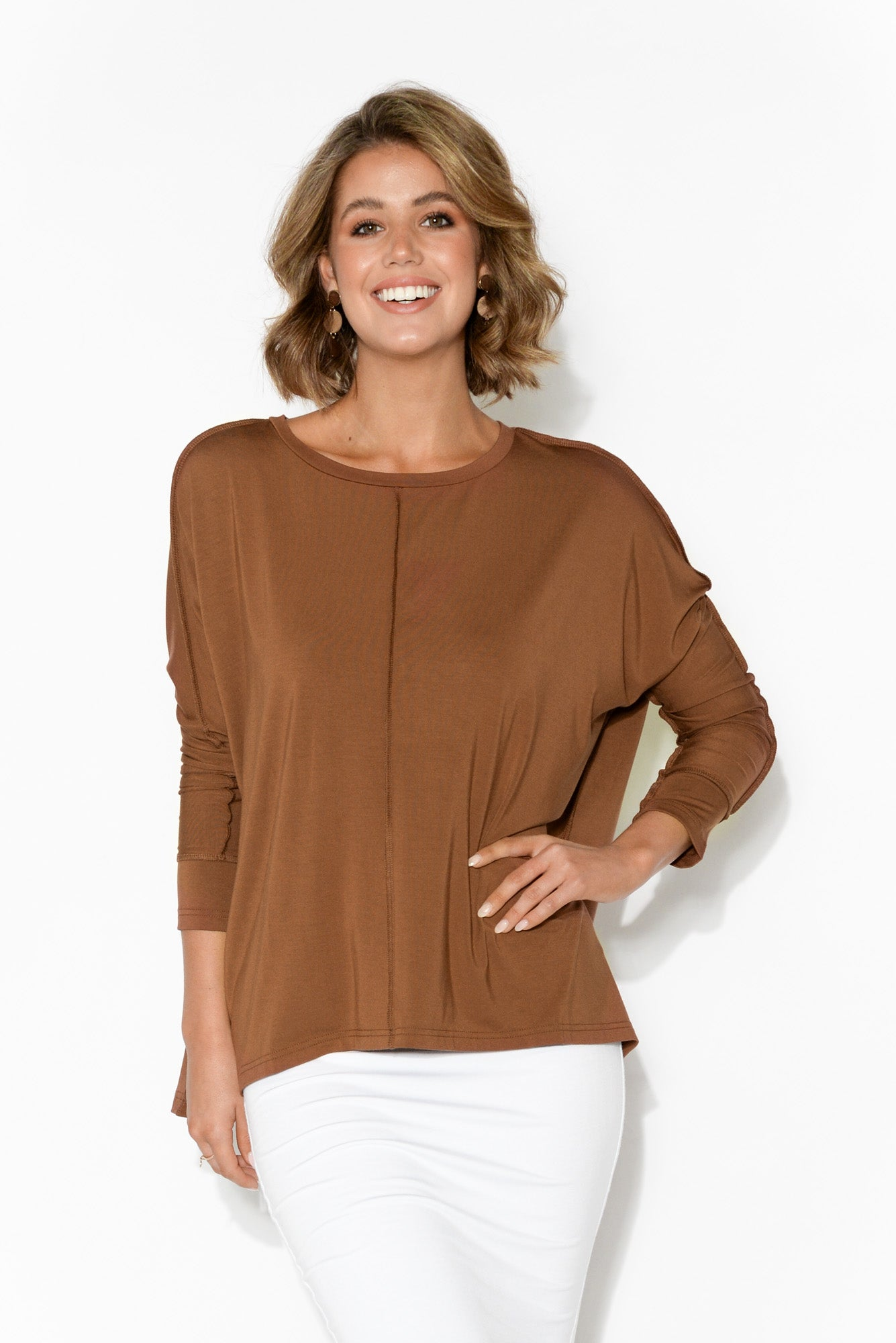 Stella Bronze Bamboo Long Sleeve Top