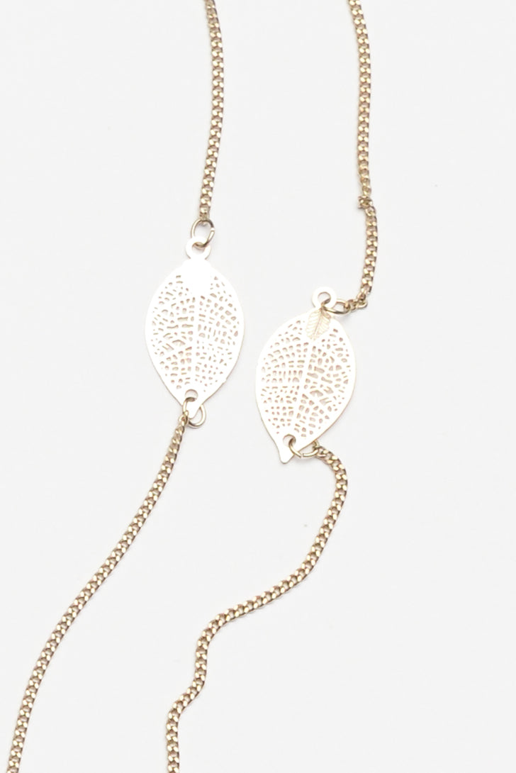Stem Gold Leaf Fine Chain Necklace