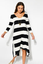 Stripe Cotton Contrast Sleeve Dress - Blue Bungalow