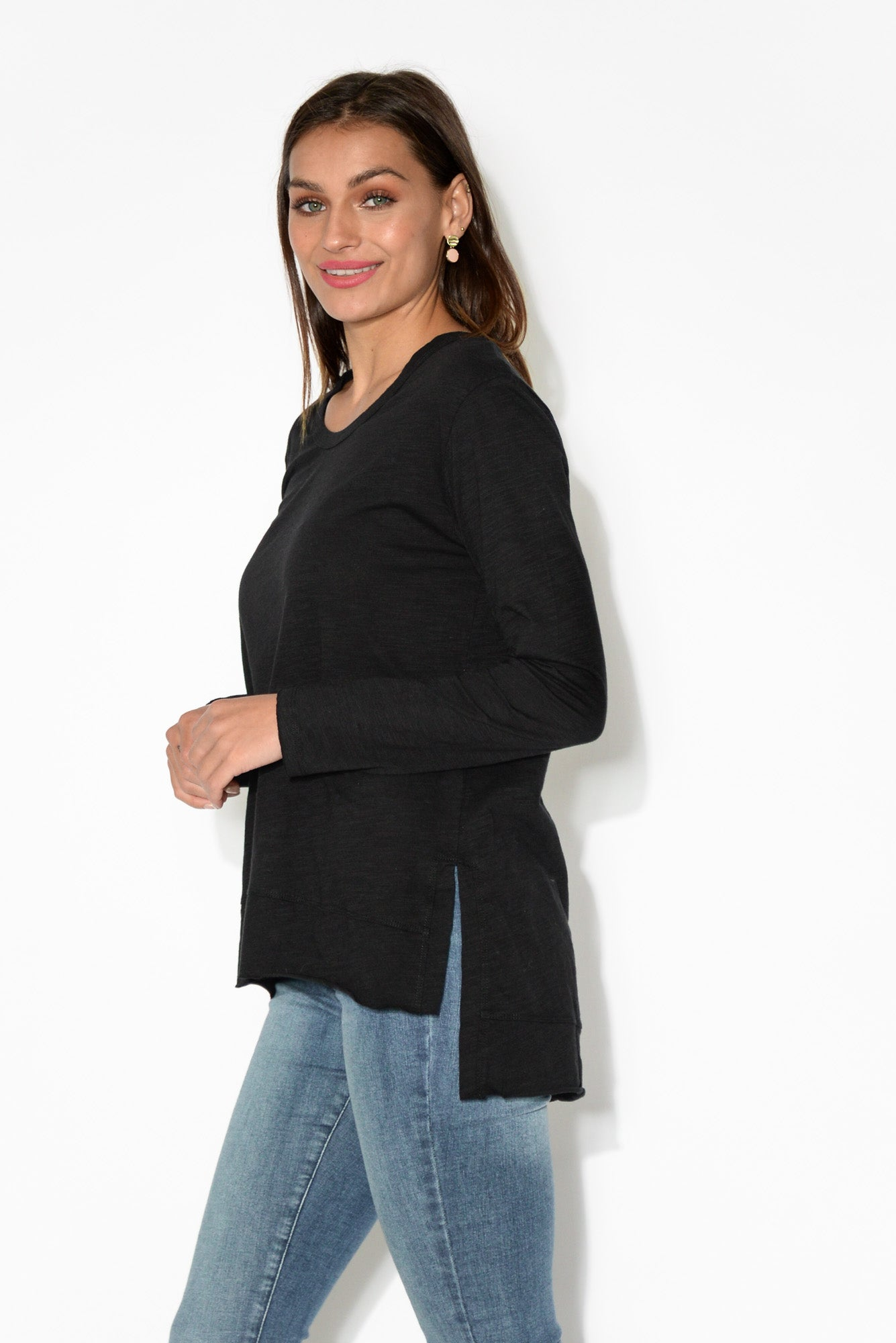 Strumpet Black Cotton Long Sleeve Top