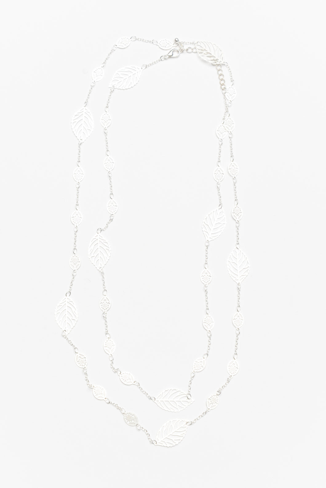 Sula Silver Fine Leaf Chain Necklace