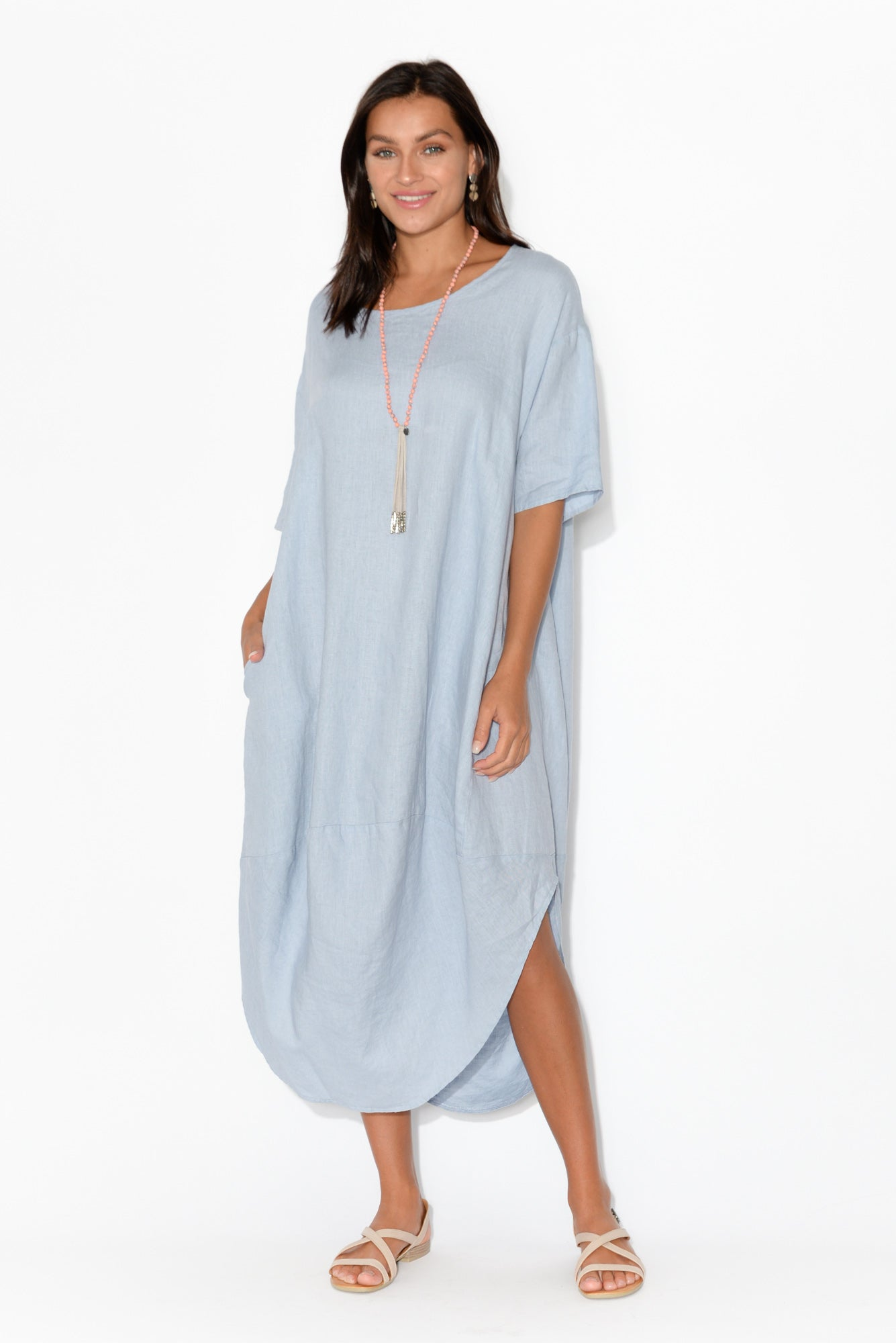 Sullivan Light Blue Linen Scoop Dress