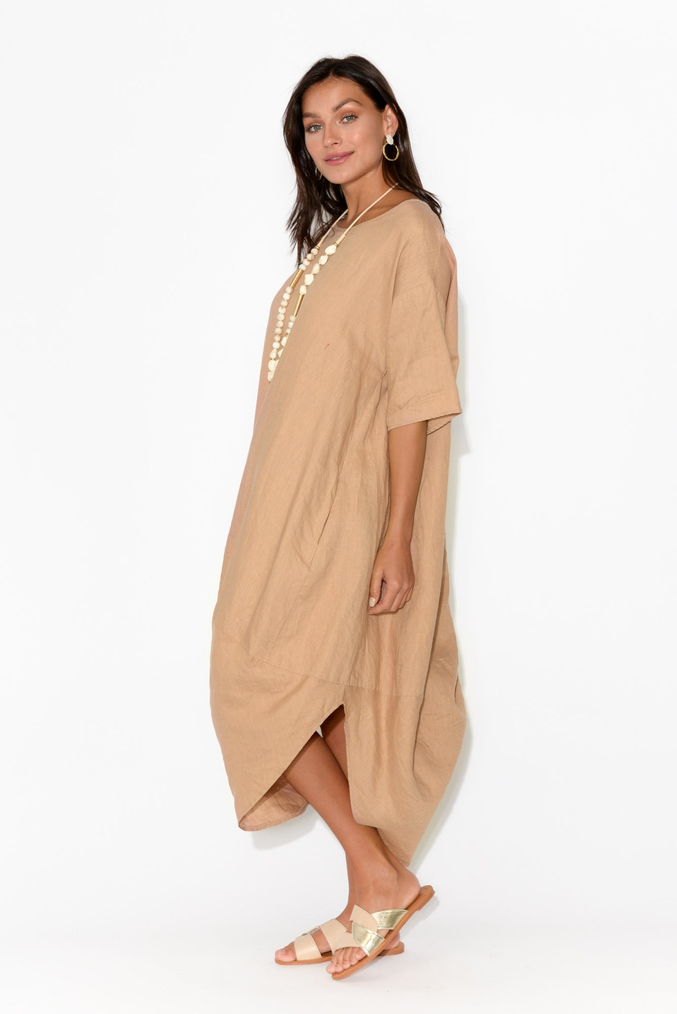 Sullivan Natural Linen Scoop Dress