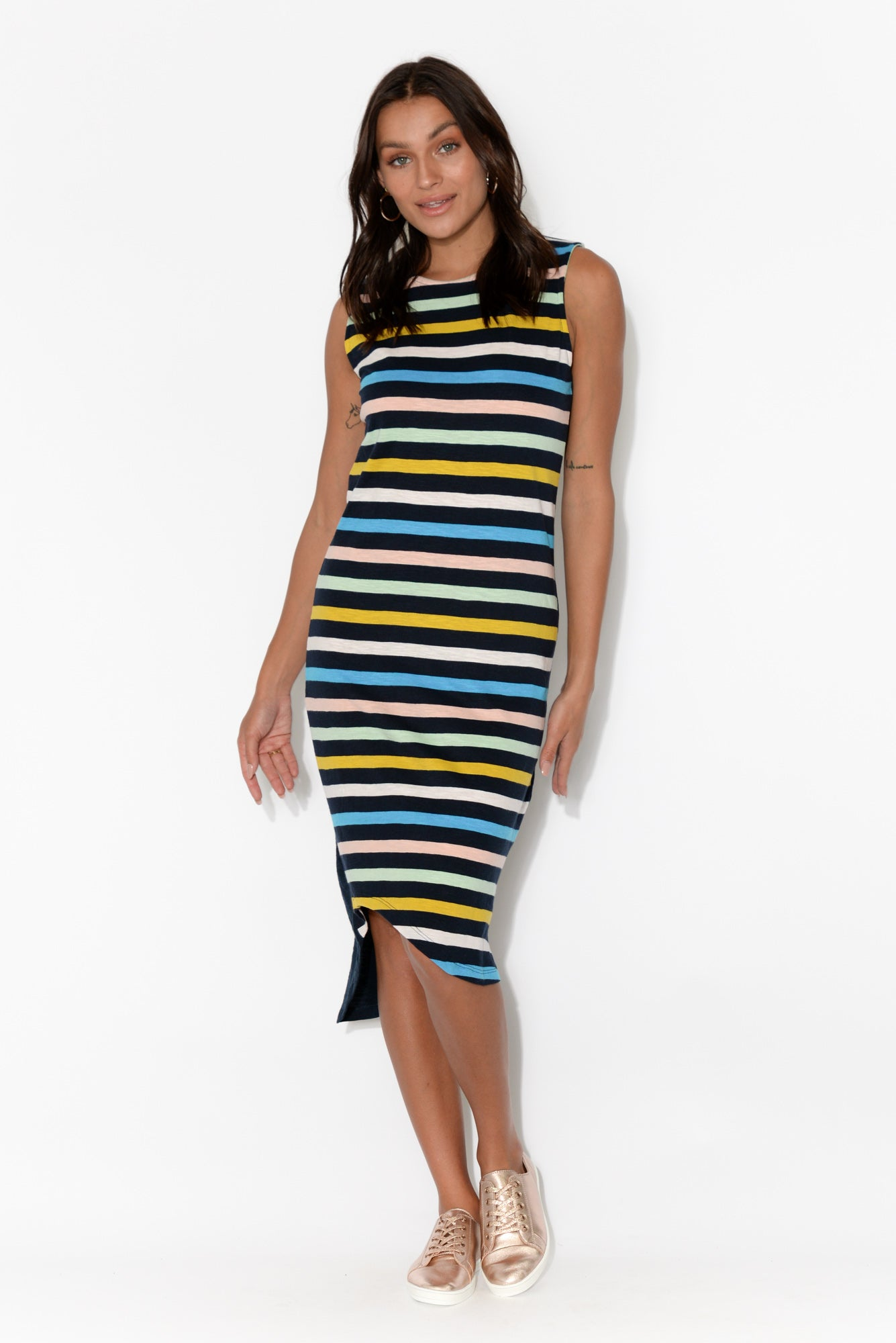 Sun Dance Navy Stripe Cotton Dress