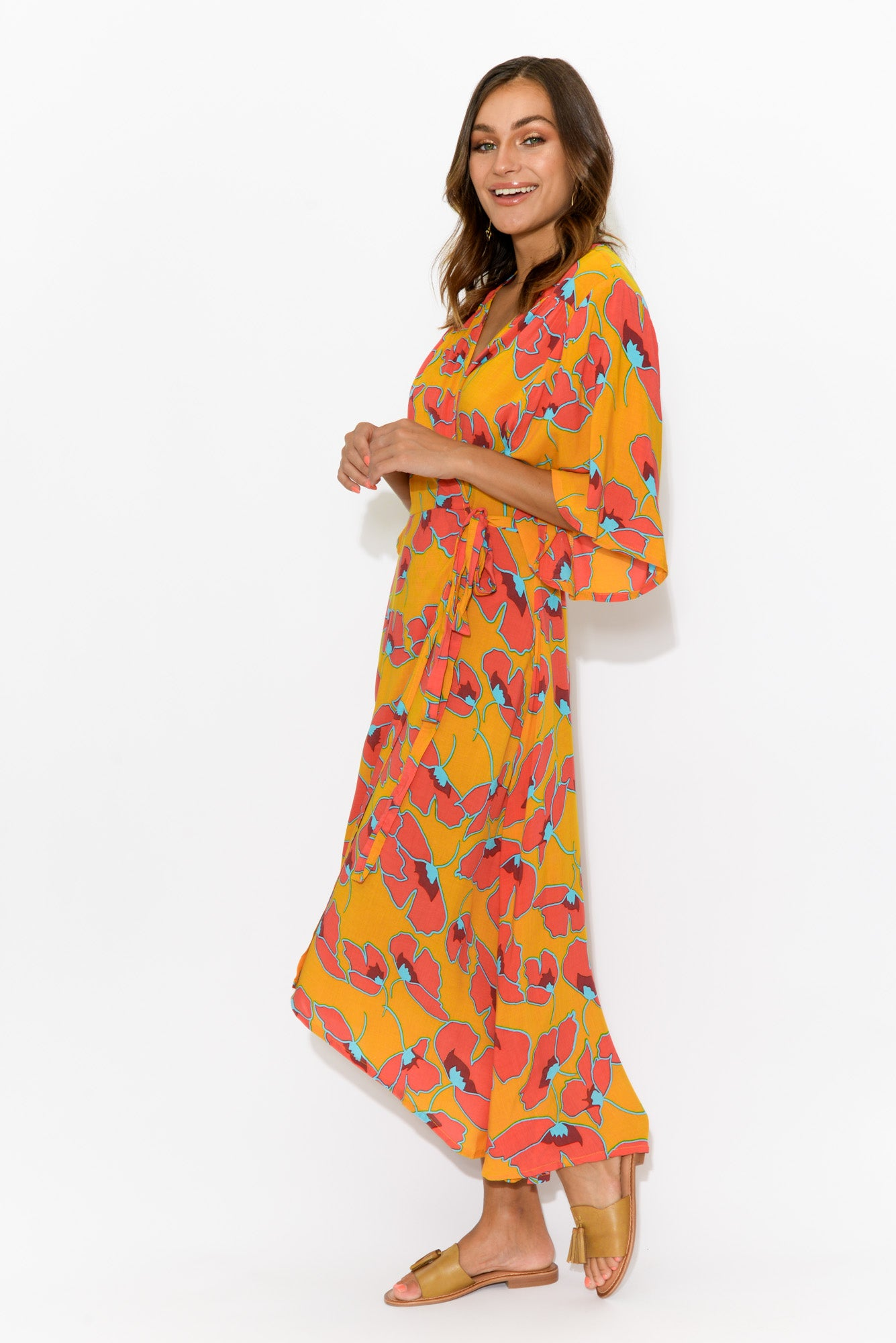 Swanson Mustard Floral Wrap Dress