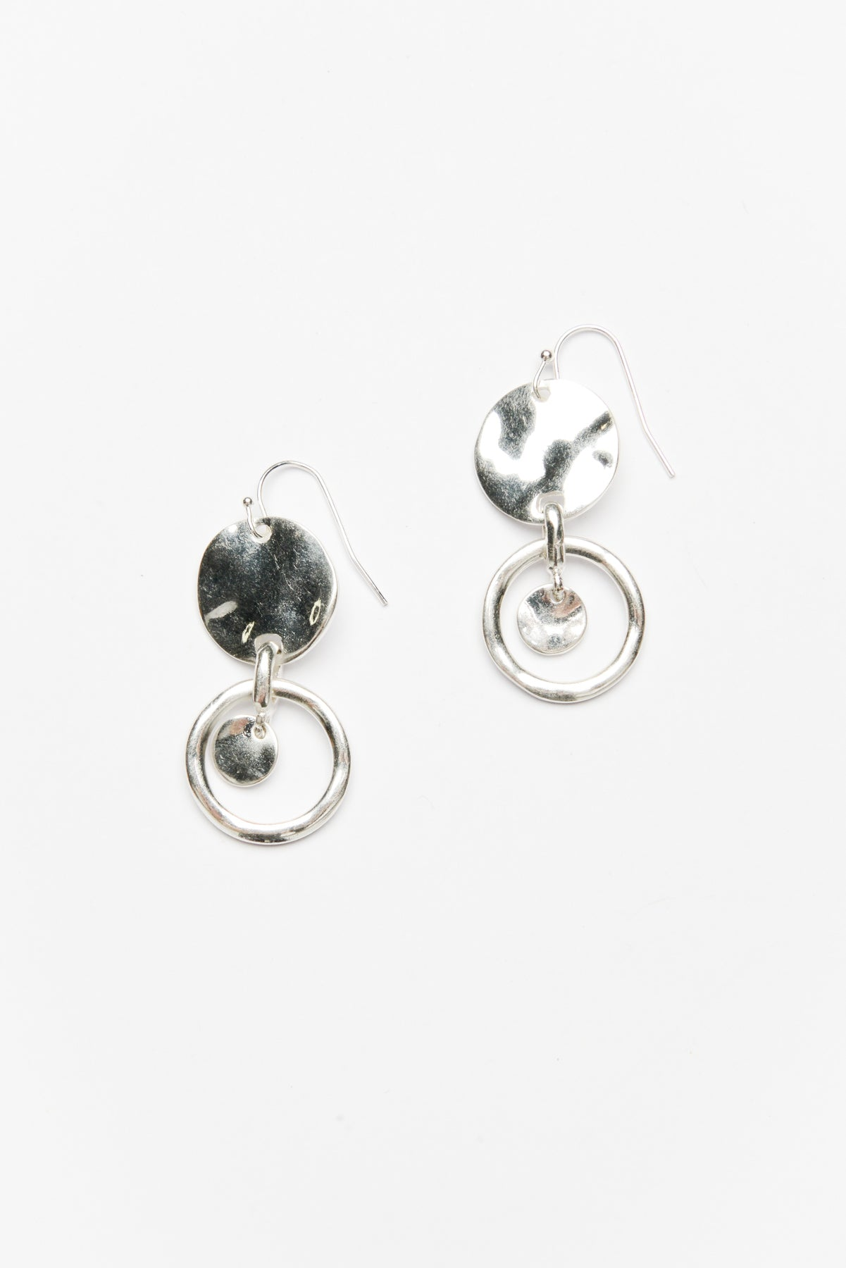 Silver Disc Drop Hook Earring - Blue Bungalow