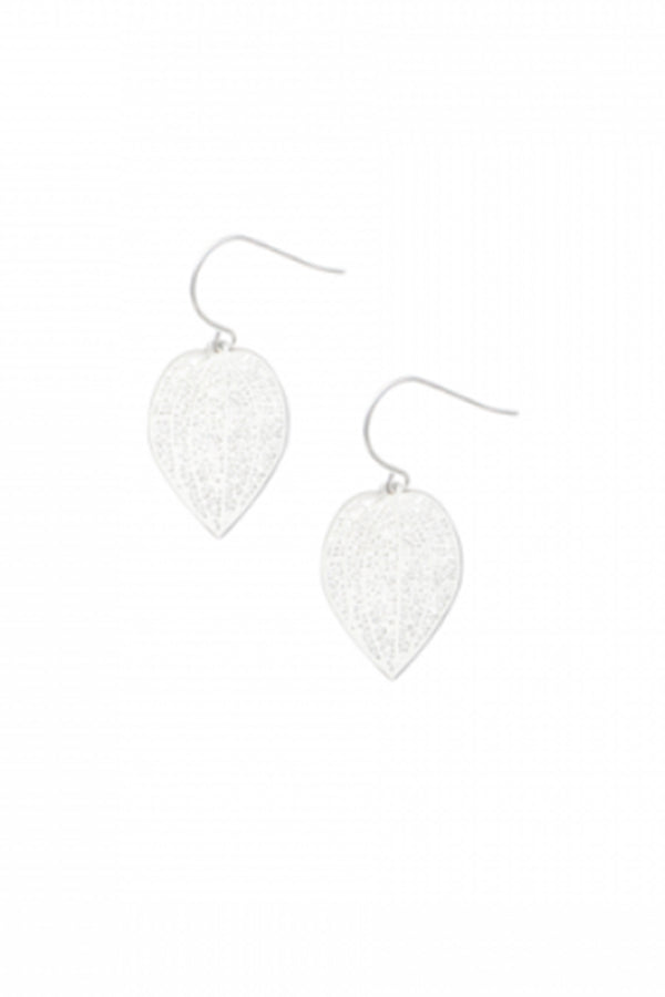 Silver Mini Leaf Lace Earring - Blue Bungalow