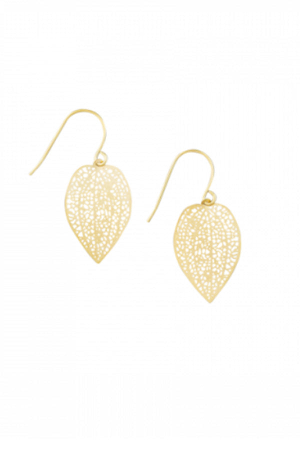 Gold Mini Leaf Lace Earring - Blue Bungalow