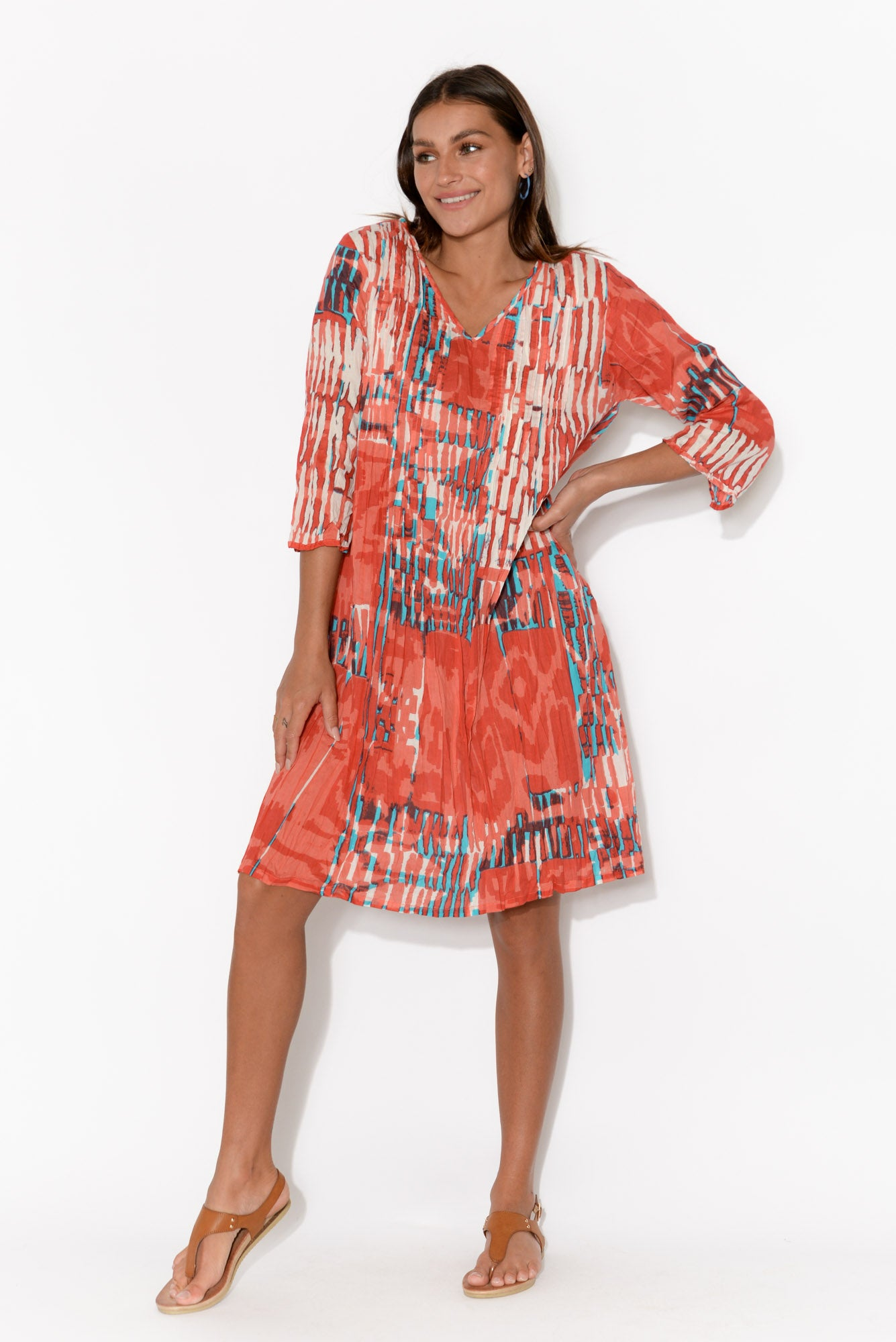 Tamara Red Crinkle Cotton Dress