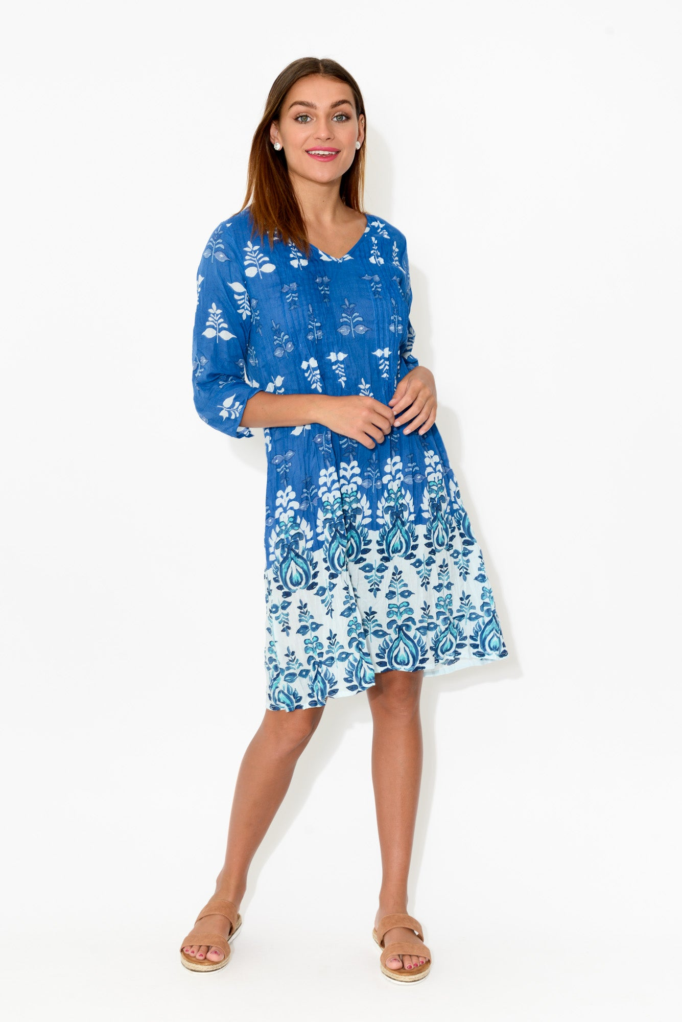 Tamara Navy Crinkle Cotton Dress