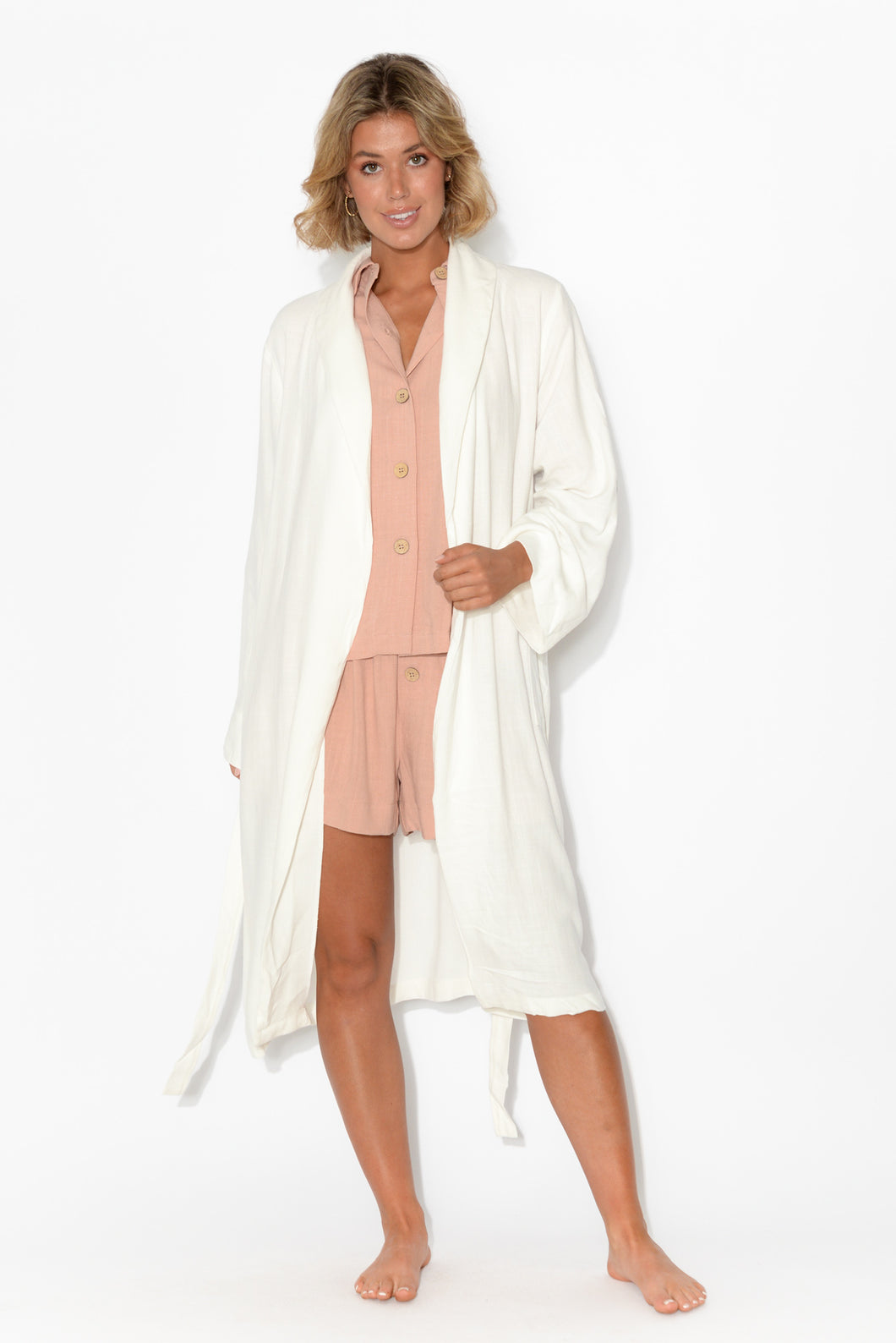 Tansy White Lightweight Robe