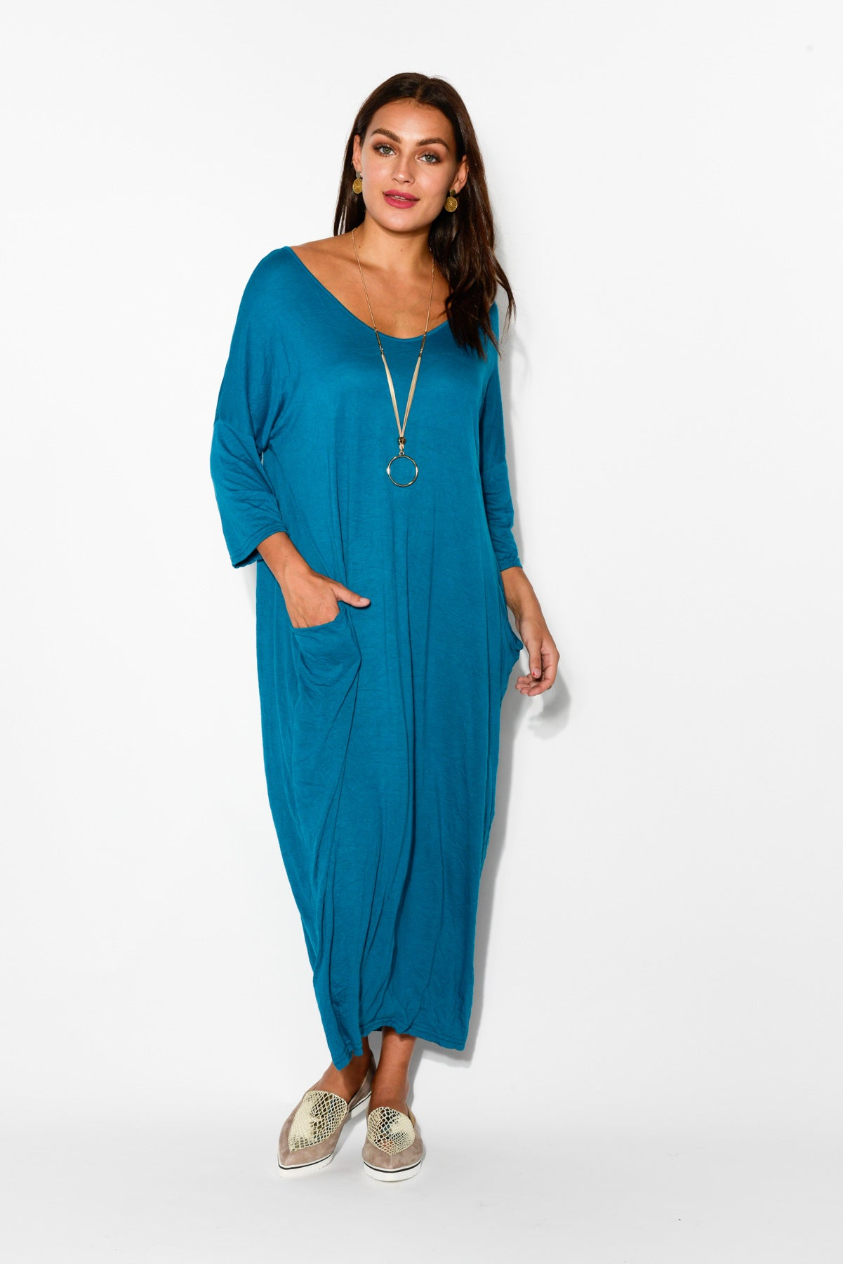 Teal Sleeved Pocket Cotton Dress - Blue Bungalow