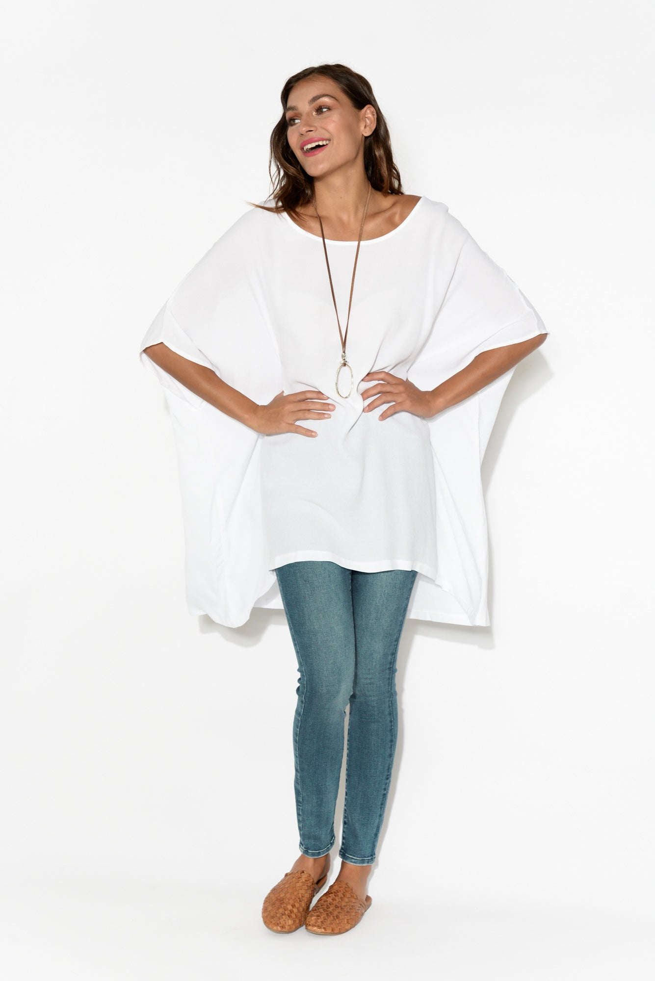 Tess White Drape Top