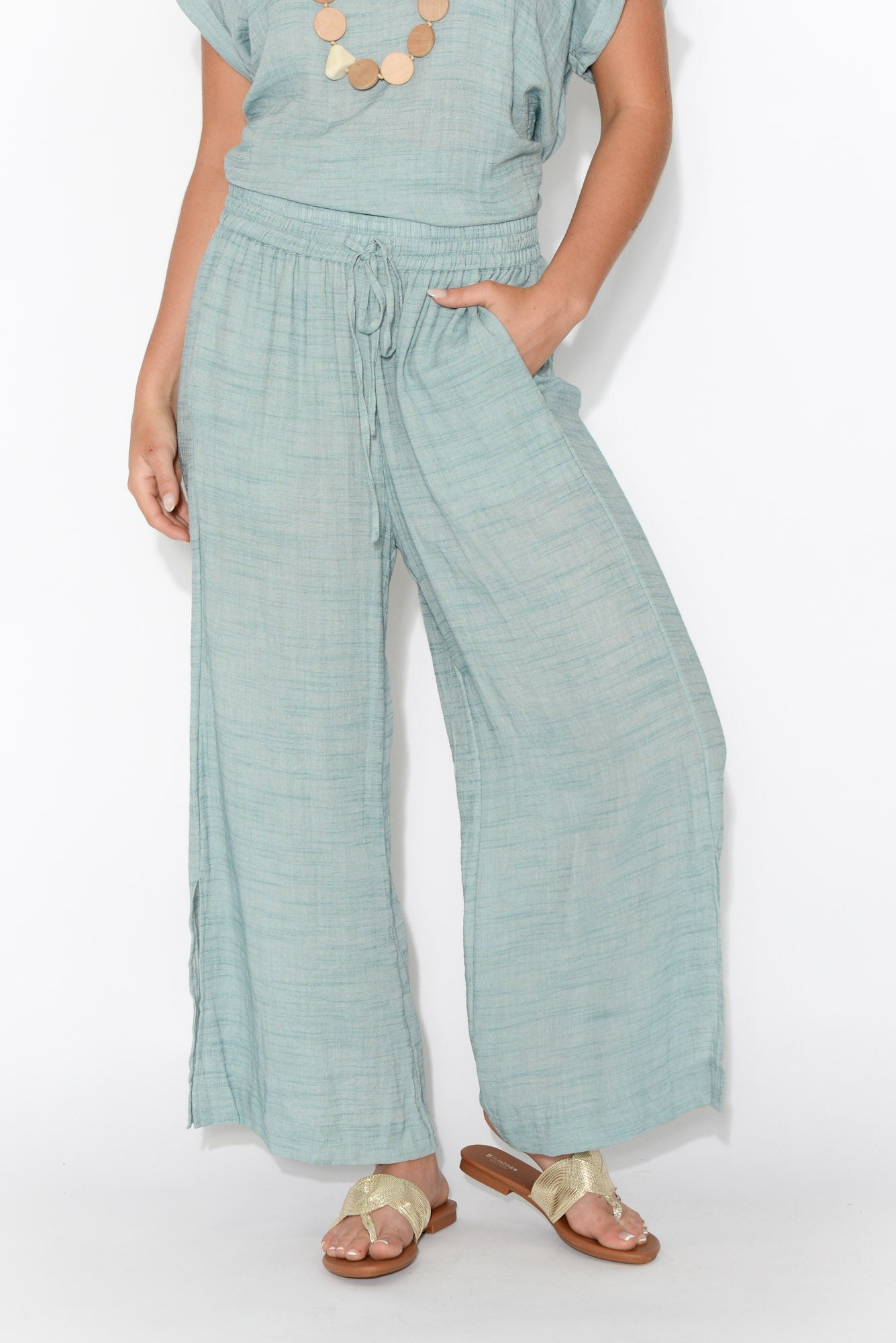 Thelma Blue Wide Leg Pant