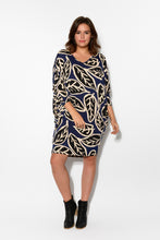 Tia Navy Leaf Batwing Dress - Blue Bungalow