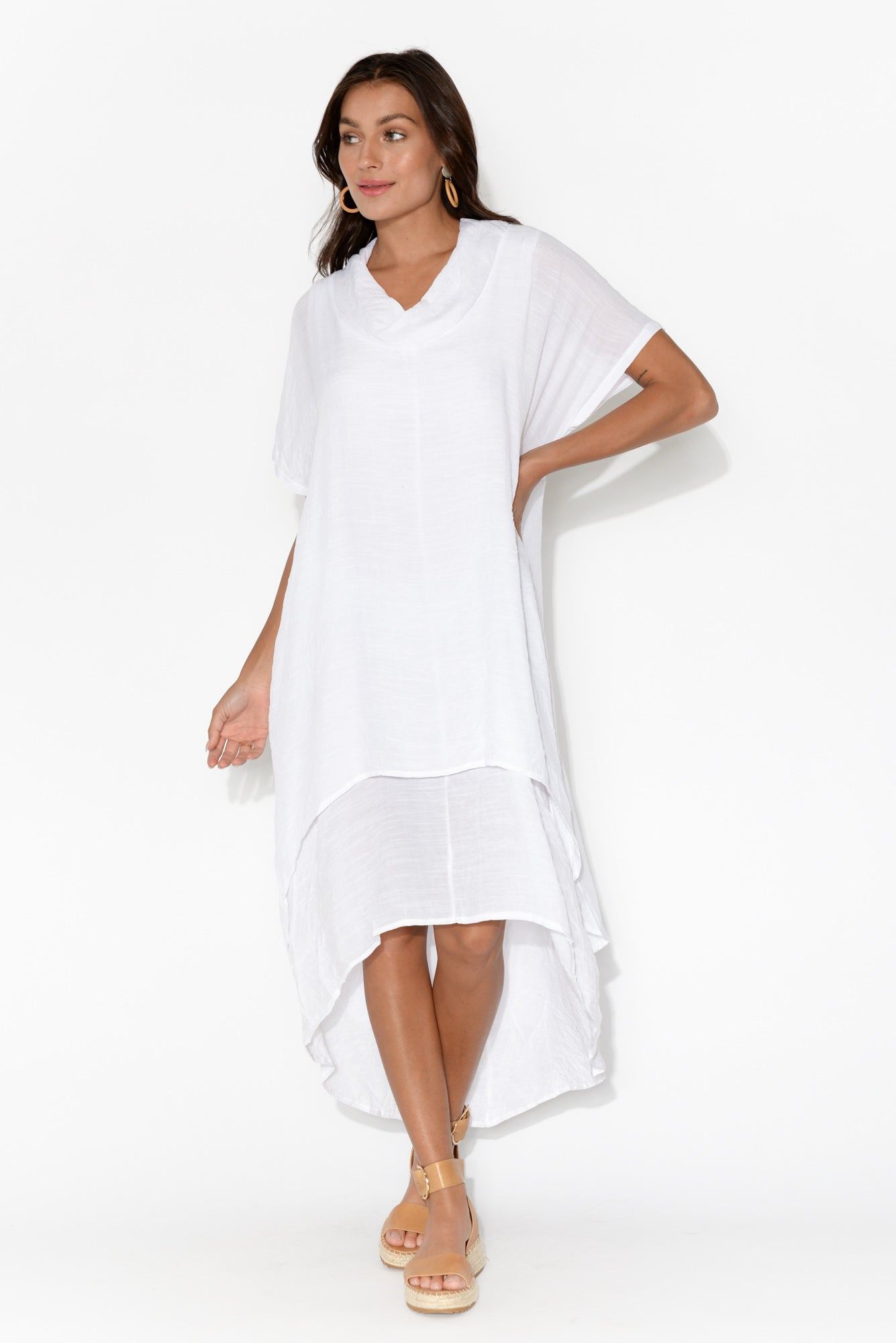 Tiana White Cotton Blend Tier Dress