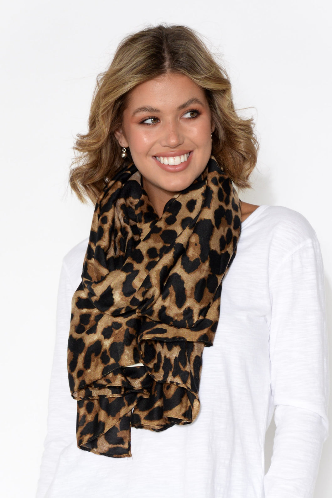 Tinsley Brown Leopard Scarf