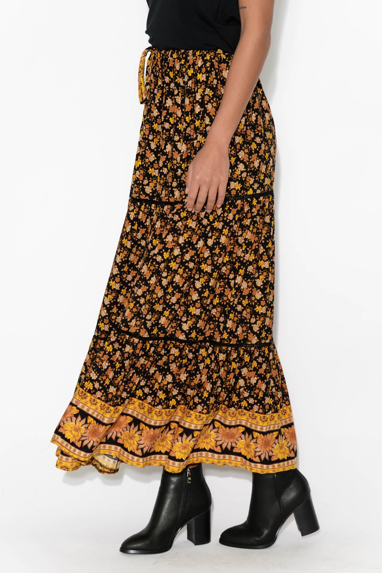 Torrance Yellow Floral Maxi Skirt