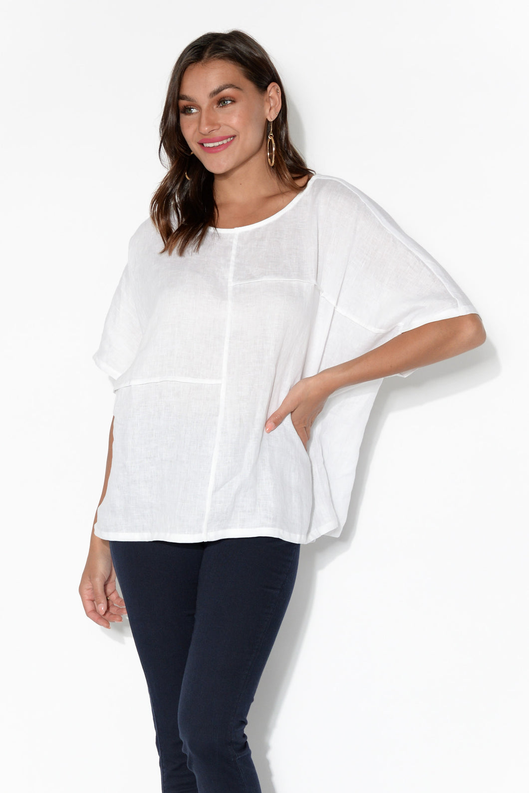 Tribu White Linen Panel Top