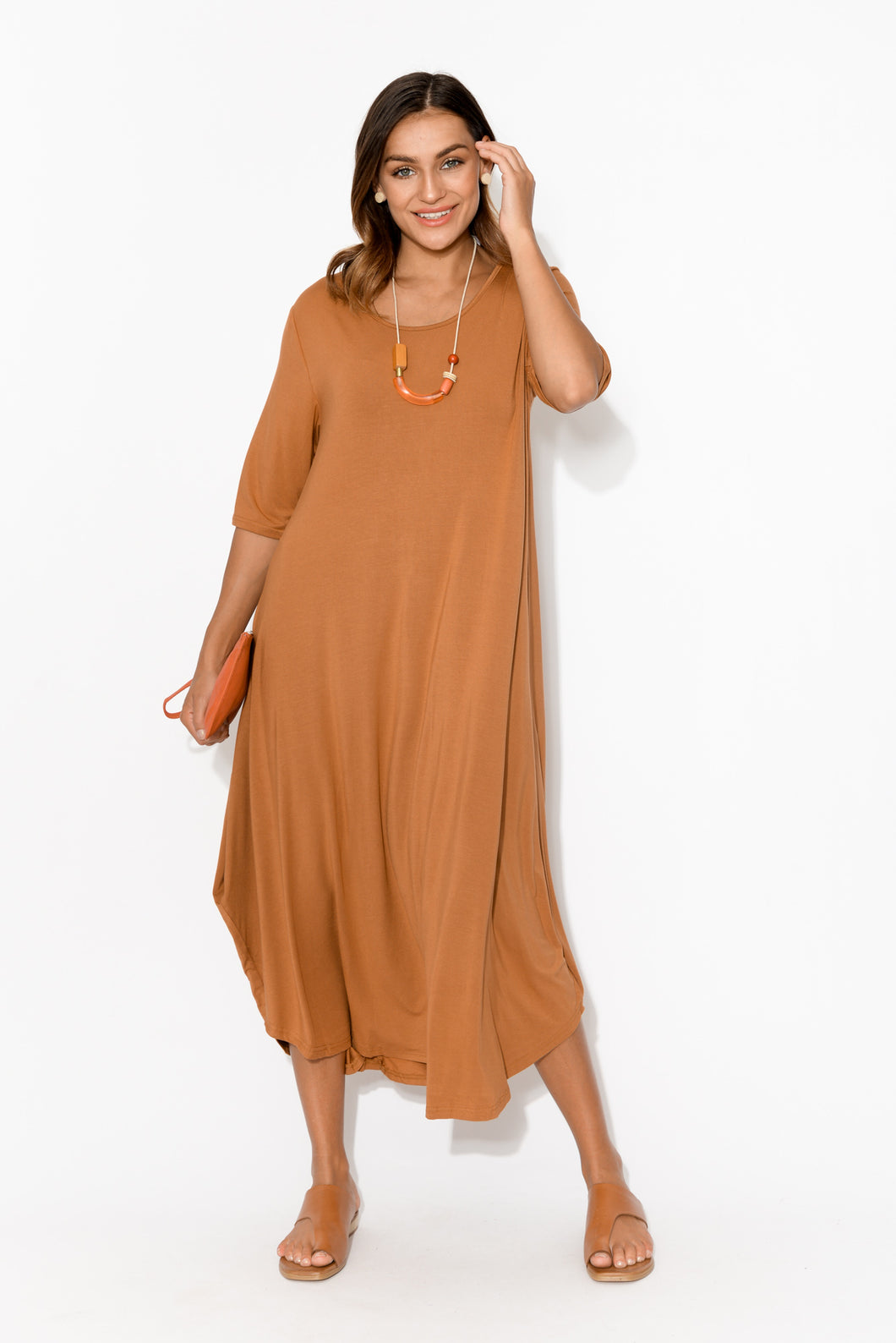 Trinity Bronze Bamboo Drape Dress