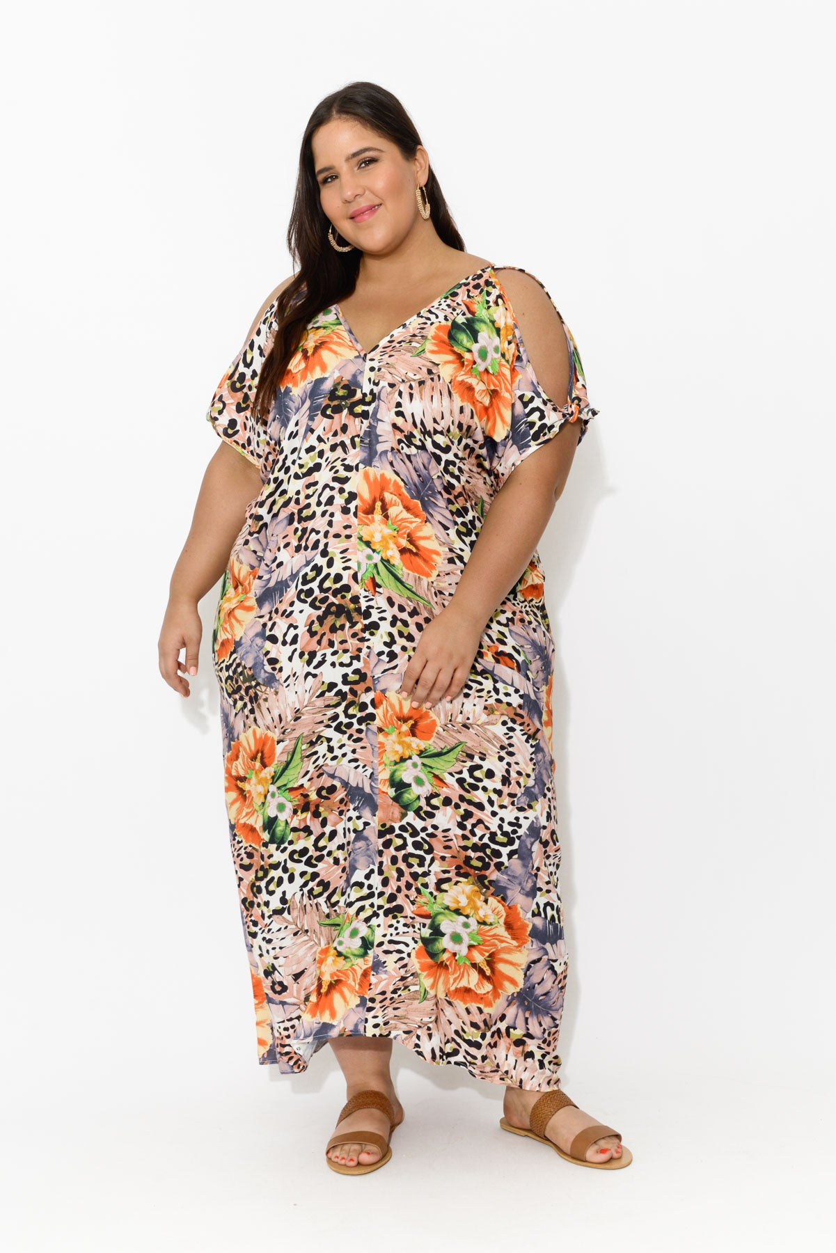 curve-dresses,curve-kaftans,plus-size,Tropical Leopard Cold Shoulder Maxi Dress - Blue Bungalow