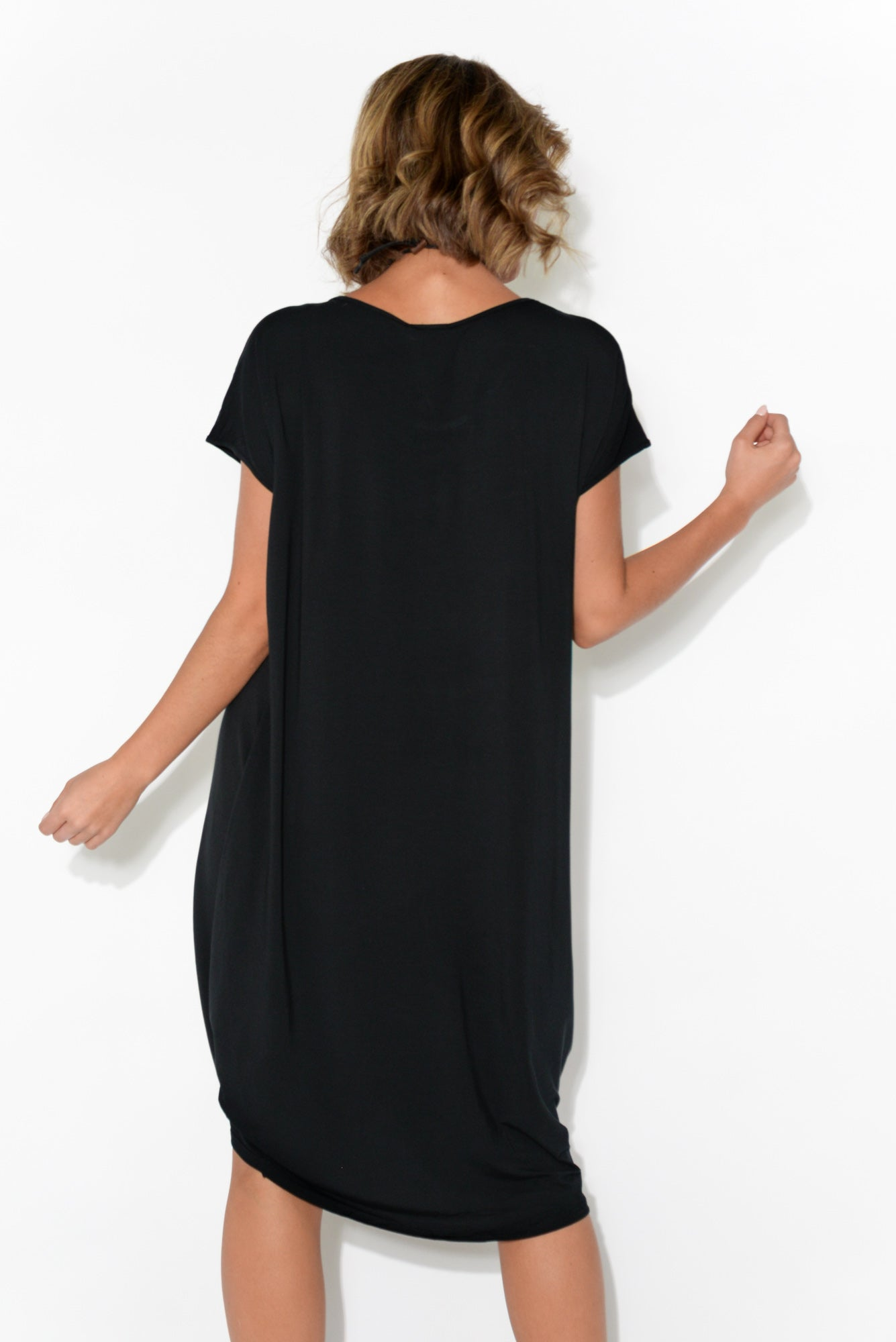 Tulip Black Modal Drape Dress