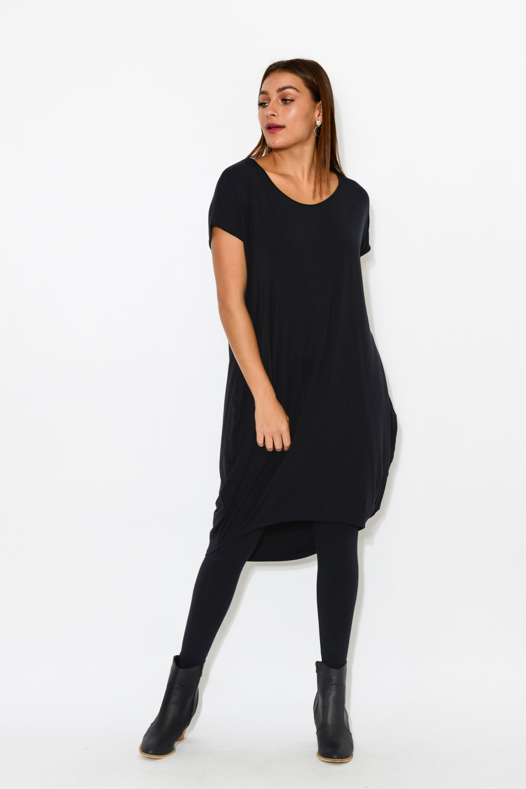 Tulip Black Modal Drape Dress - Blue Bungalow