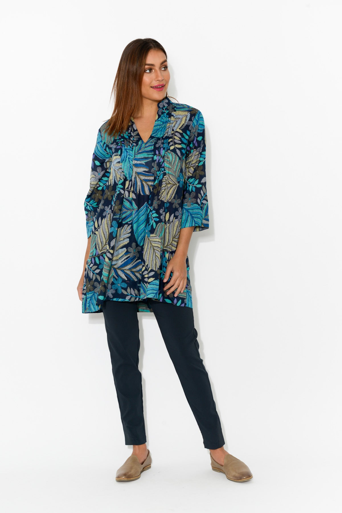 Tully Blue Fern Cotton Tunic - Blue Bungalow
