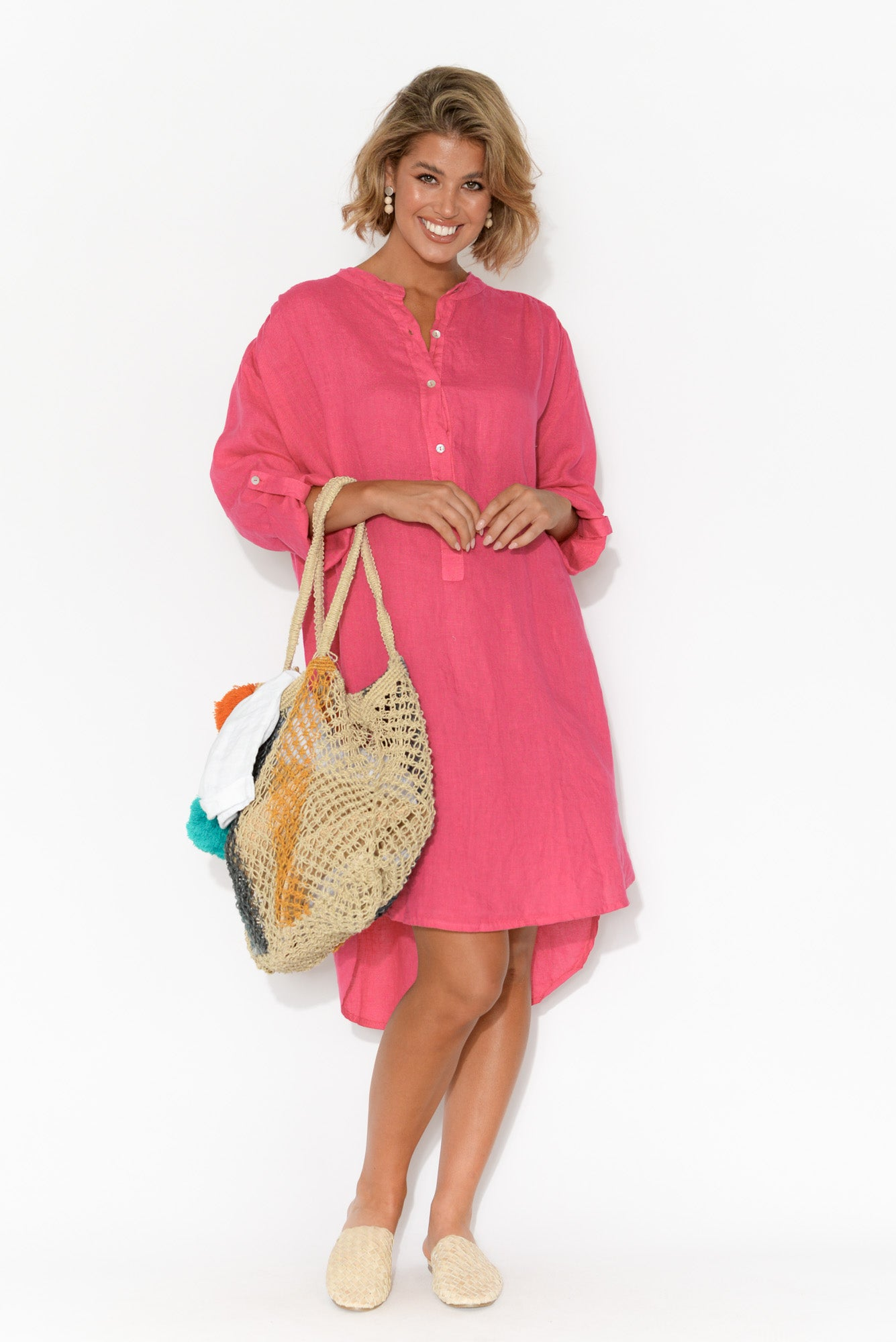 Tuscany Hot Pink Linen Tunic Top