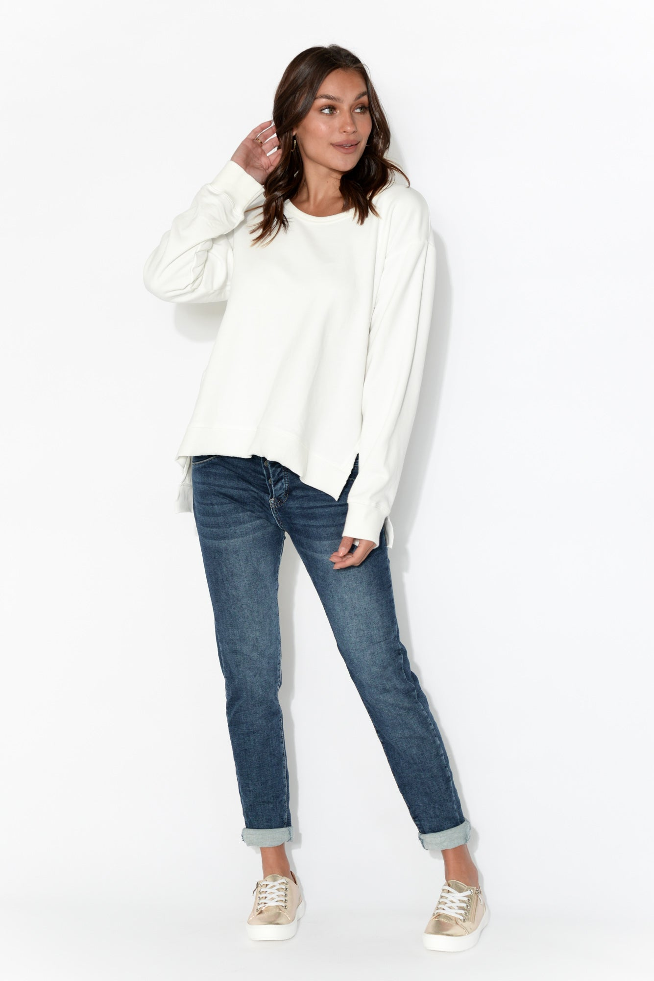 Ulverstone White Cotton Jumper