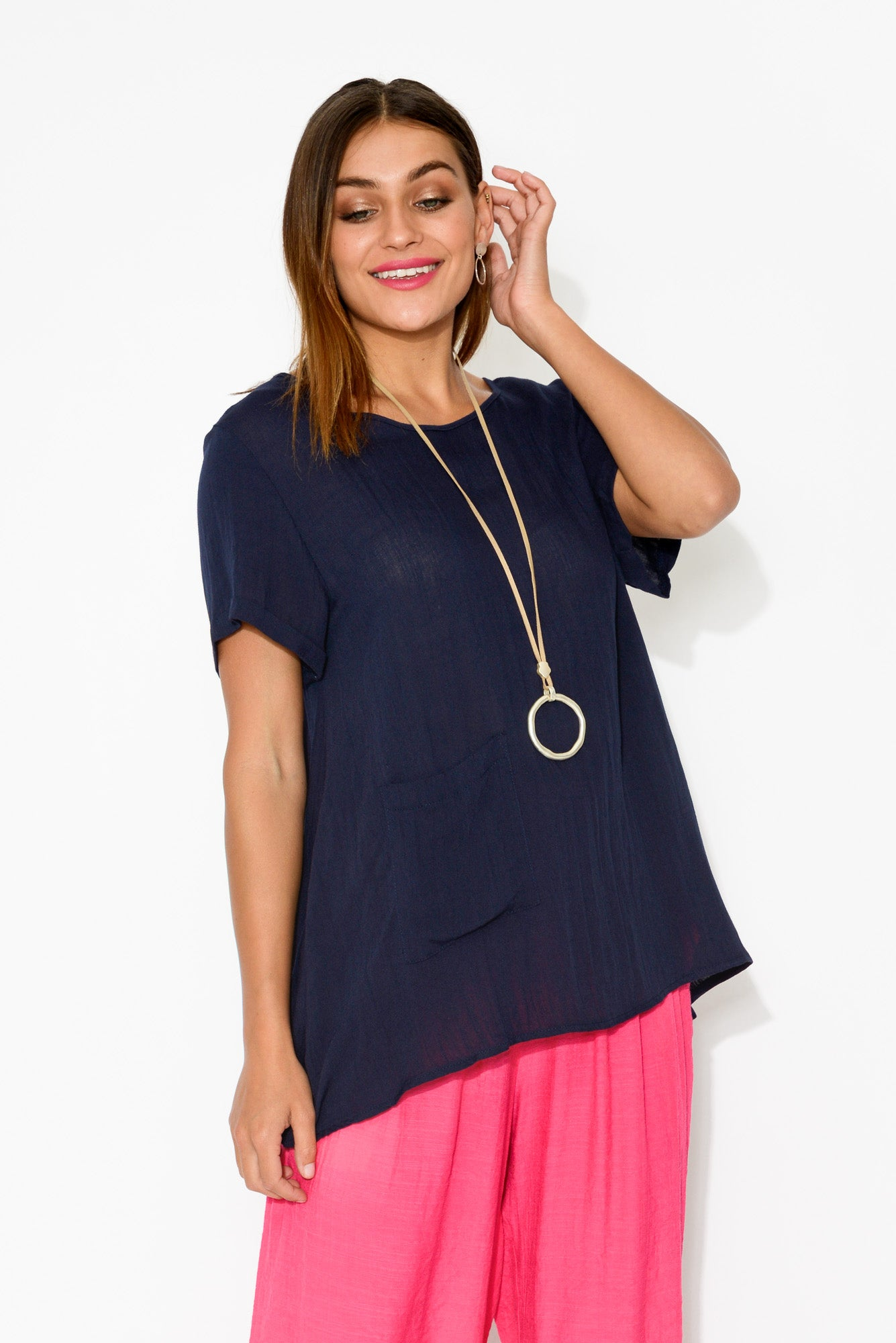 Vada Navy Pocket Top