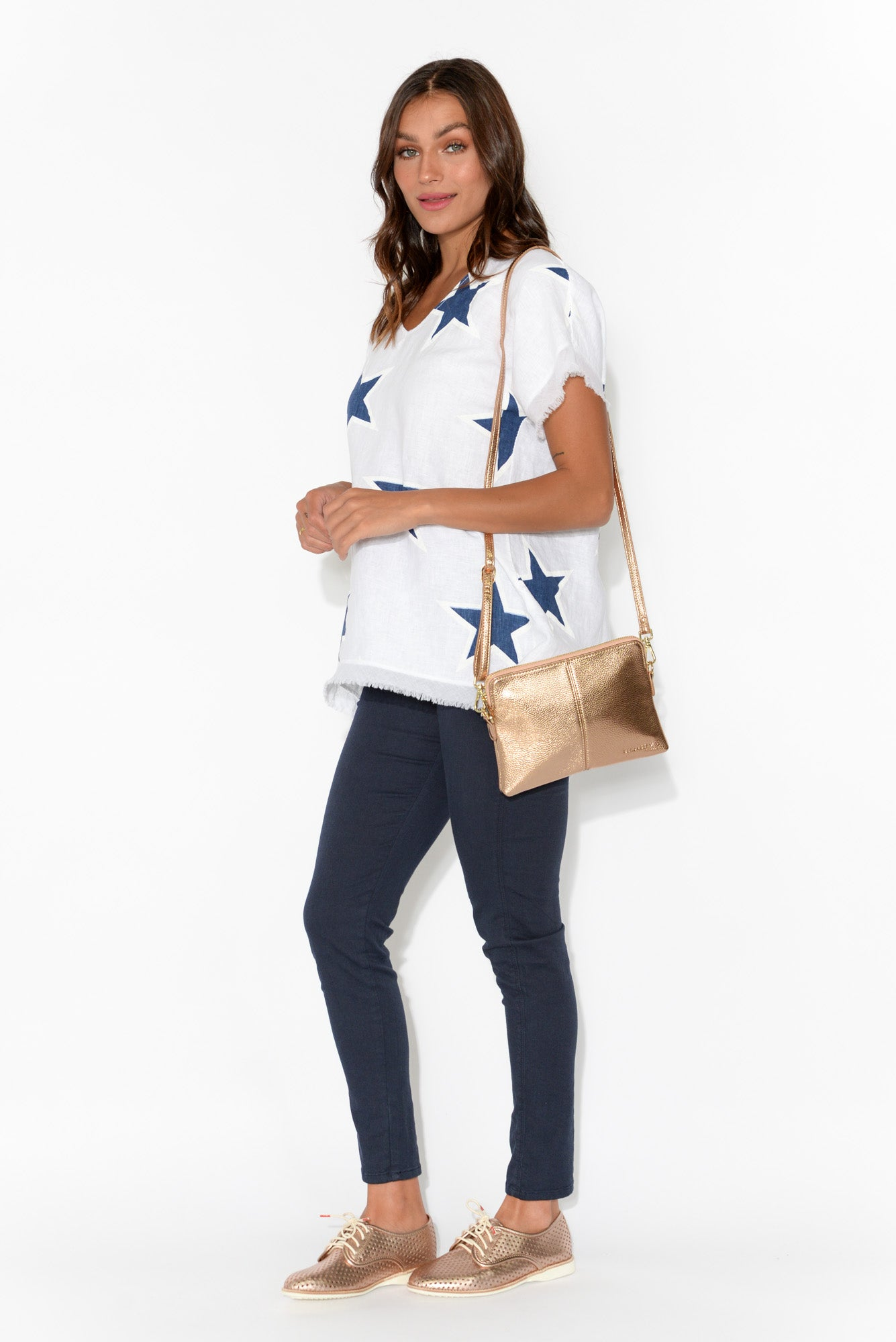 Valentina Navy Star Cotton Linen Top
