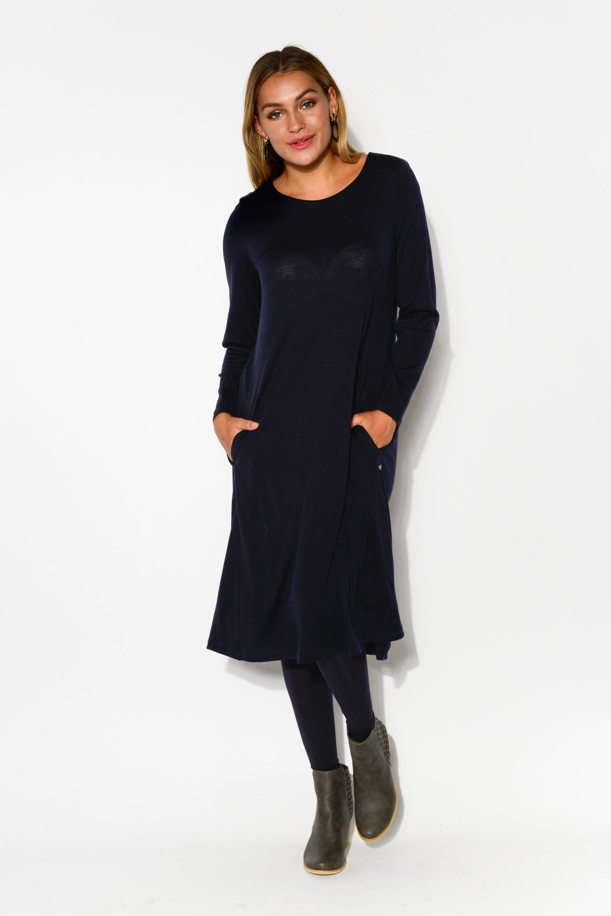 Vanity Navy Merino Wool Swing Dress - Blue Bungalow