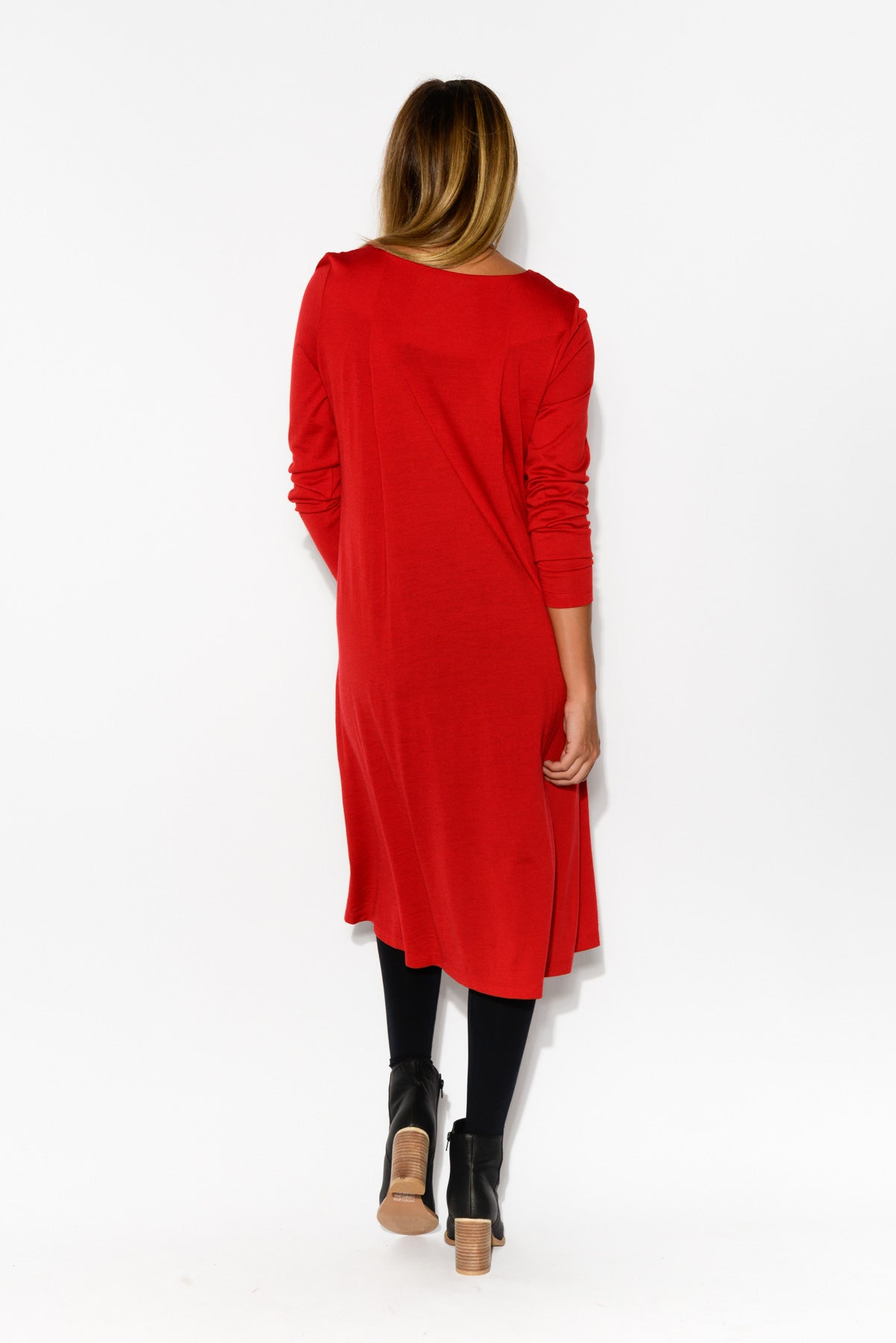 Vanity Red Merino Wool Swing Dress - Blue Bungalow
